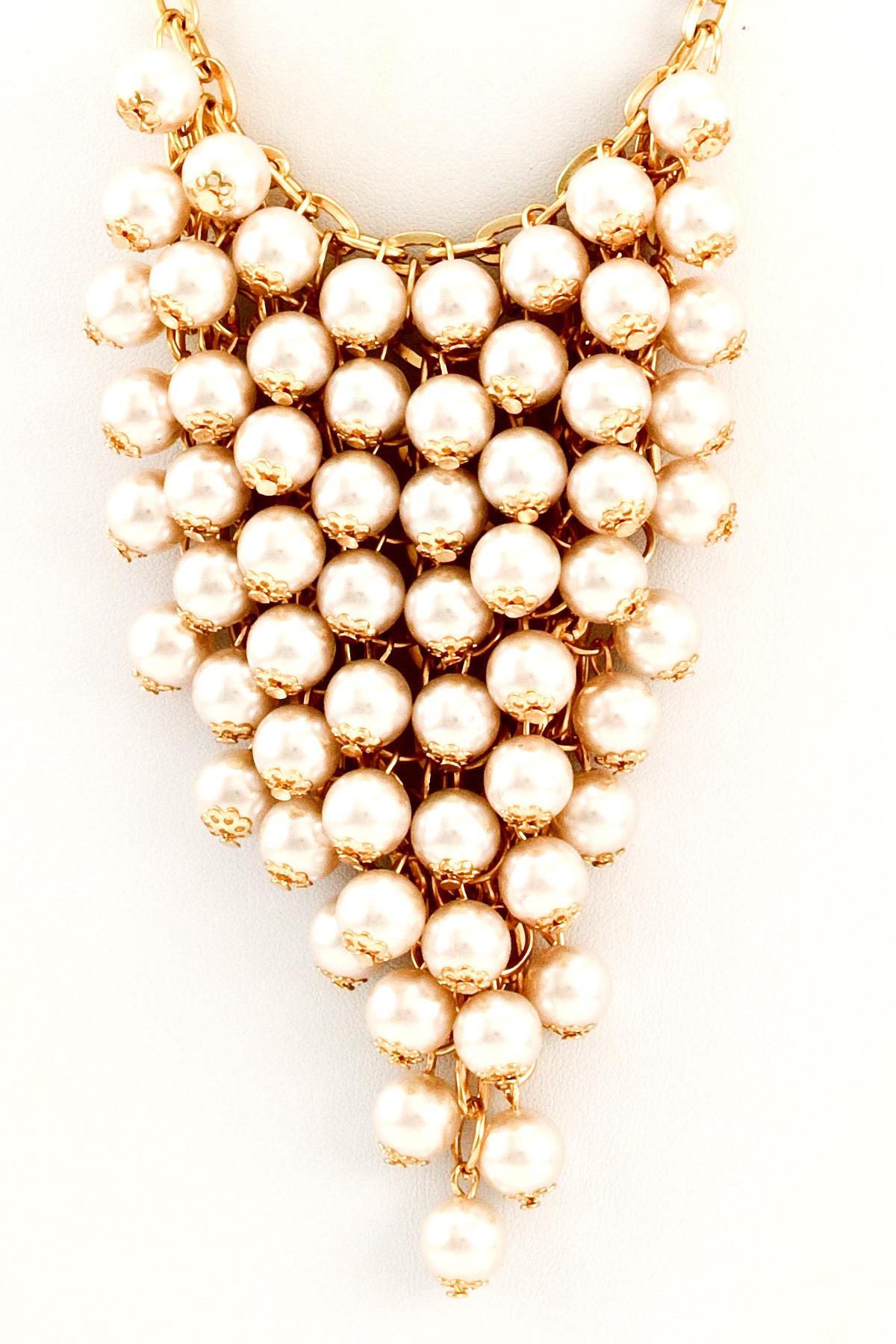 pearl cluster bib necklace set