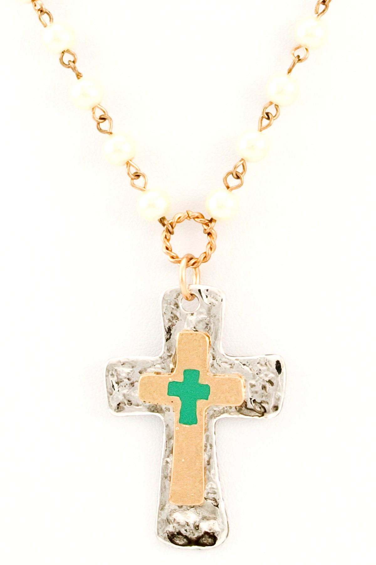 beaded pearl cross necklace necklaces
