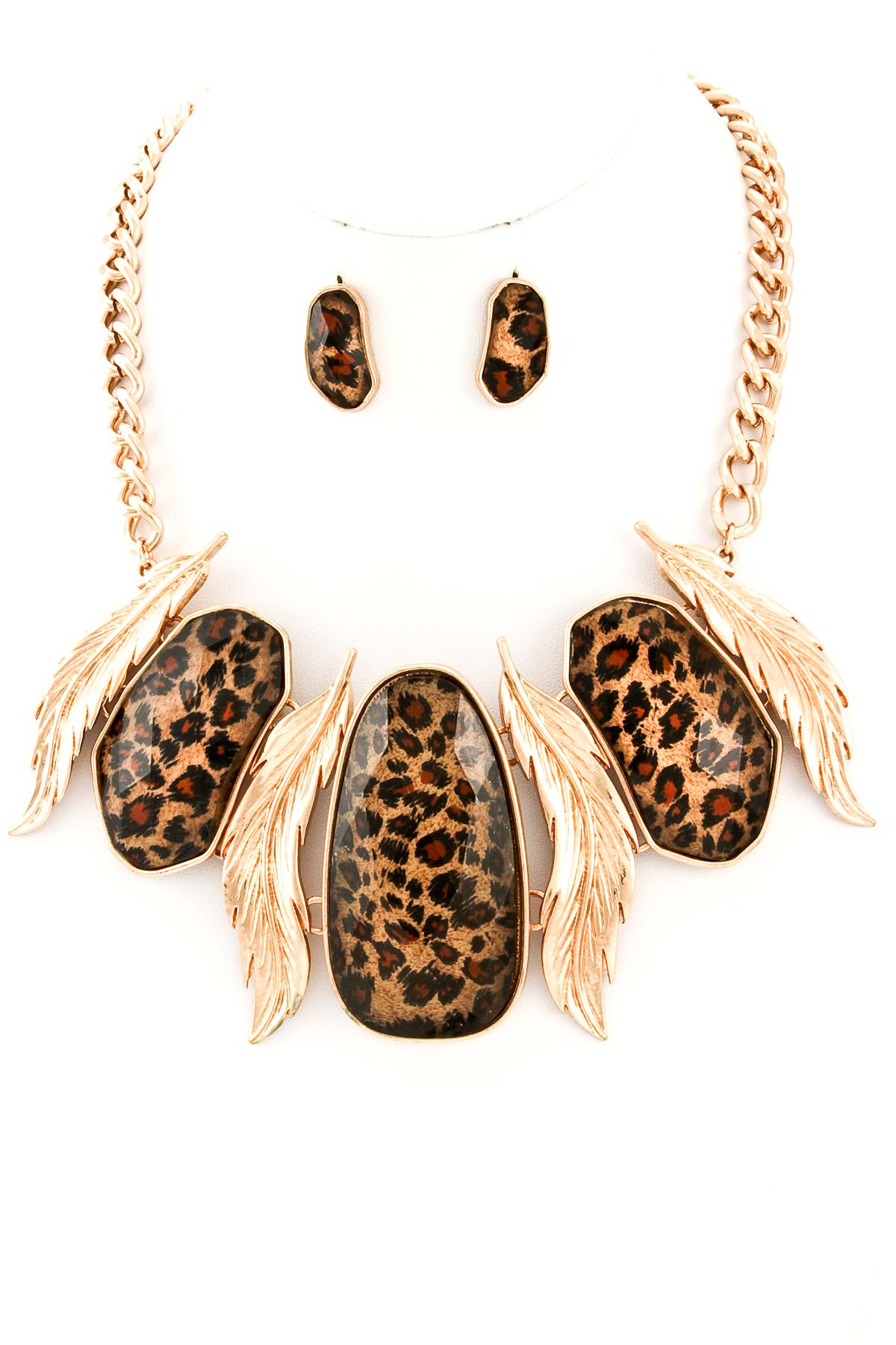 leopard print acrylic jewel metal leaf pendant necklace