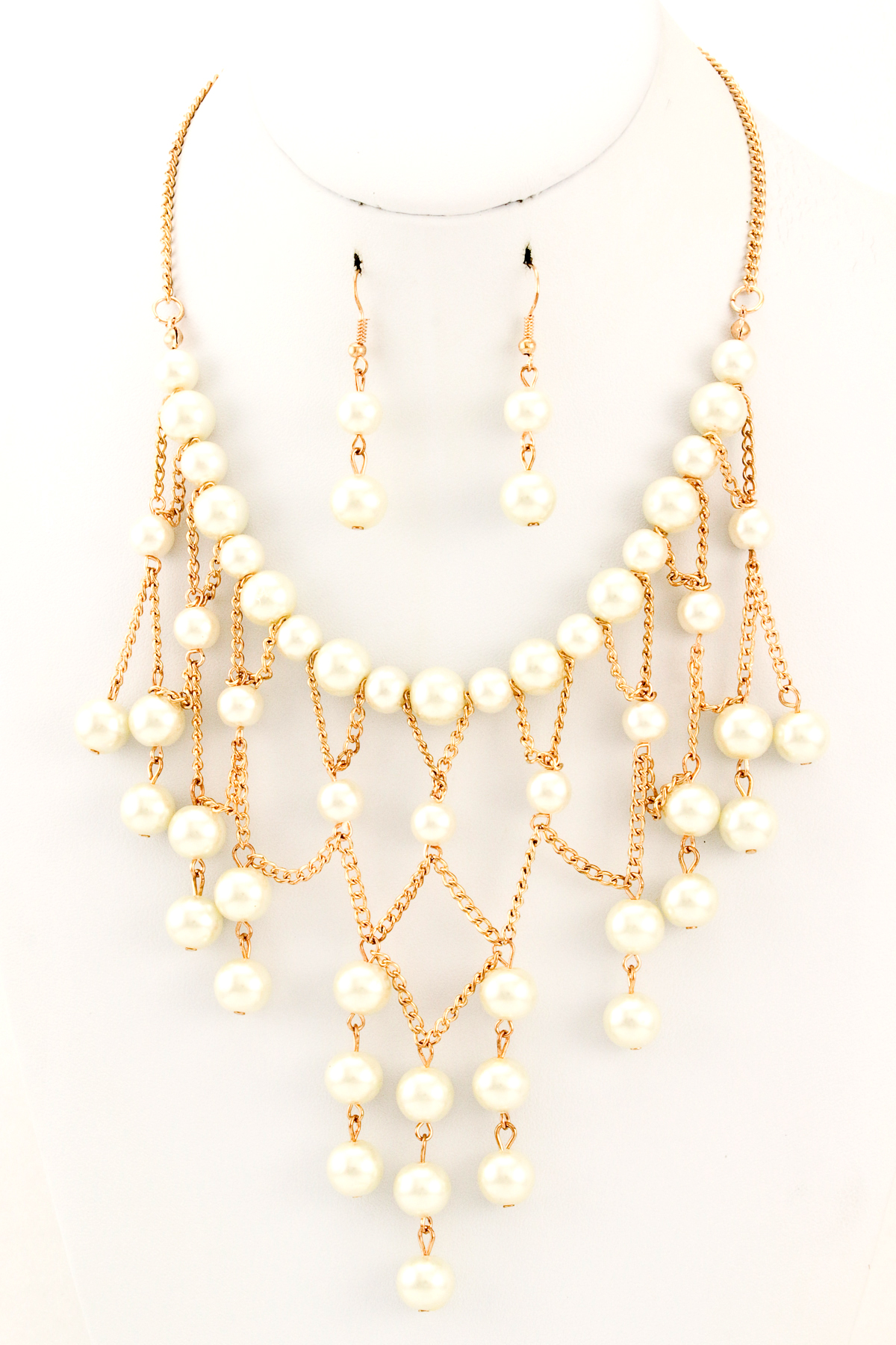 acrylic pearl cascading layered necklace