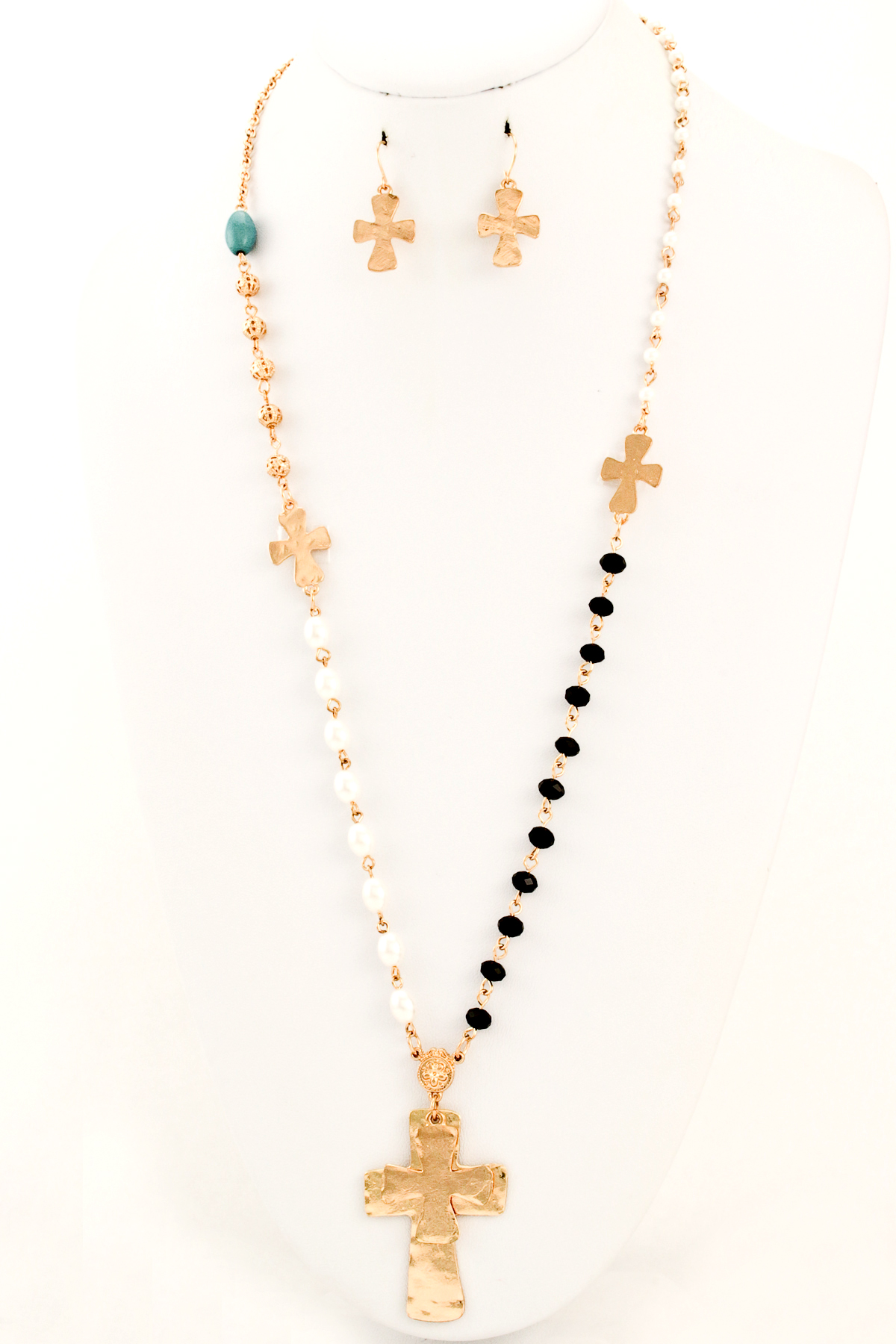 acrylic pearl beaded cross necklace set necklaces