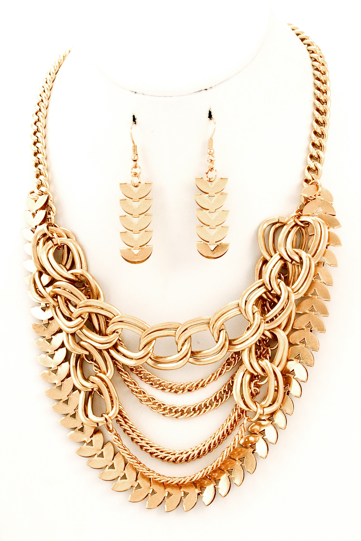 Metal Laurel Leaf Multi Layered Chain Necklace Set - Necklaces