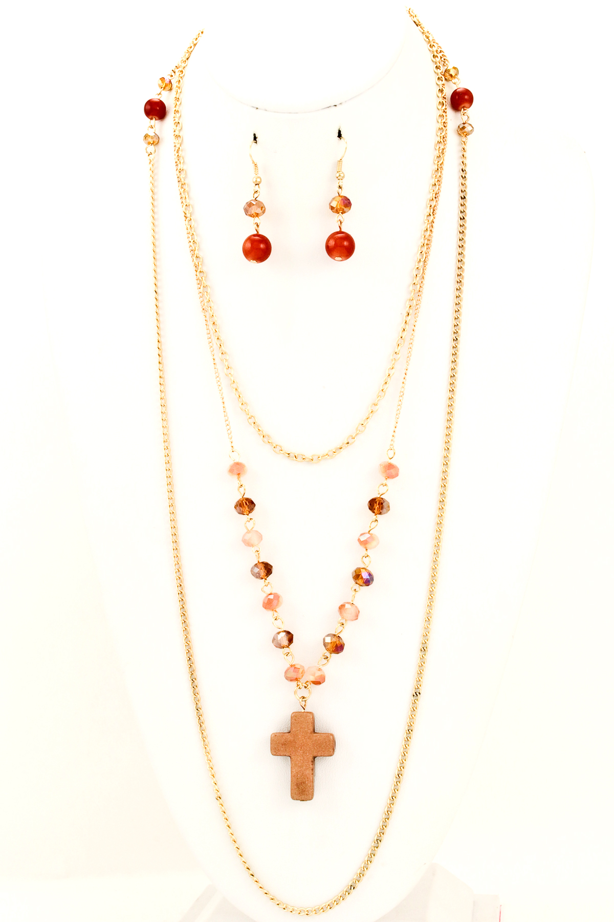 semi precious cross charm three layer necklace set