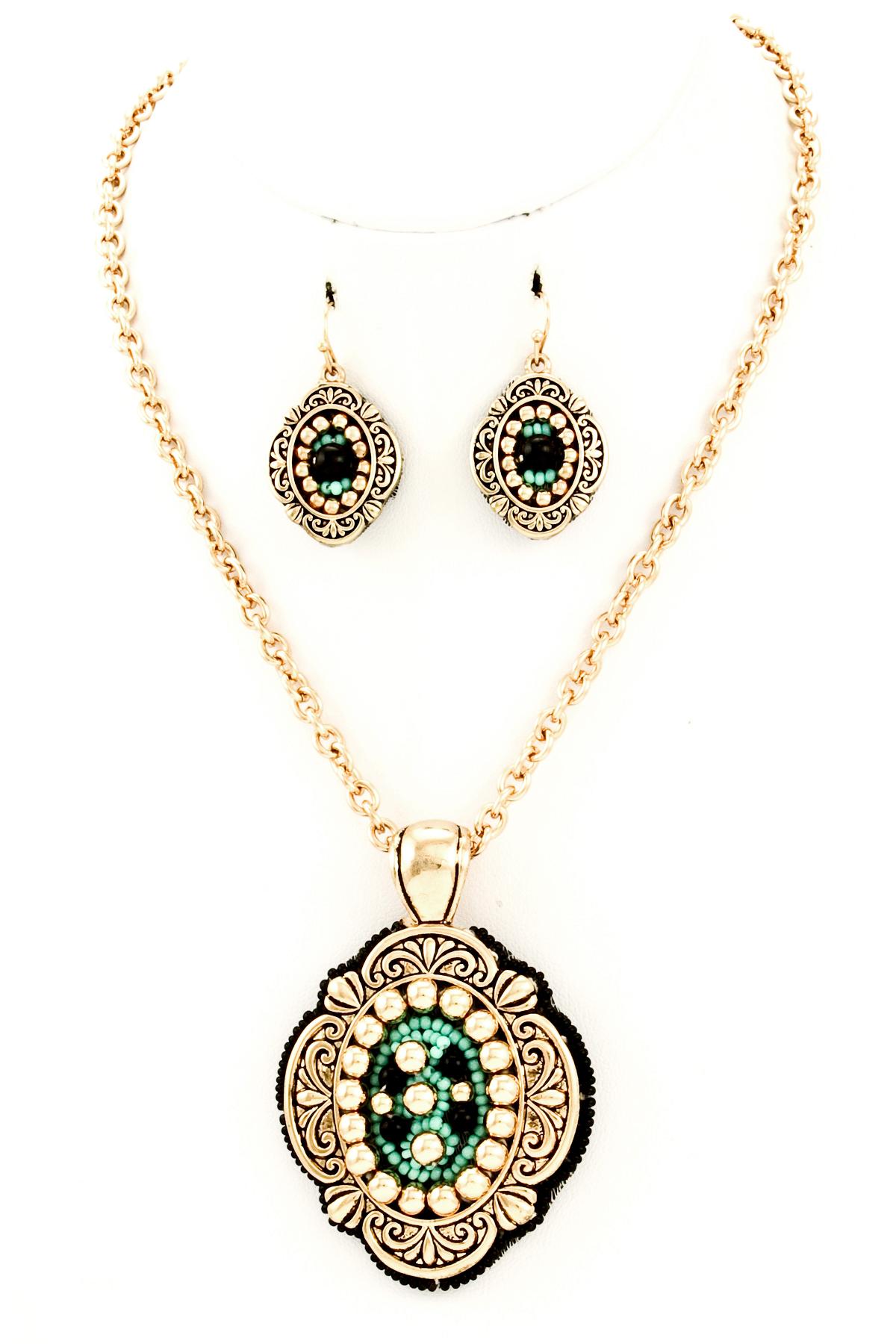 Fleur-De-Lis Textured Pendant Necklace Set - Necklaces