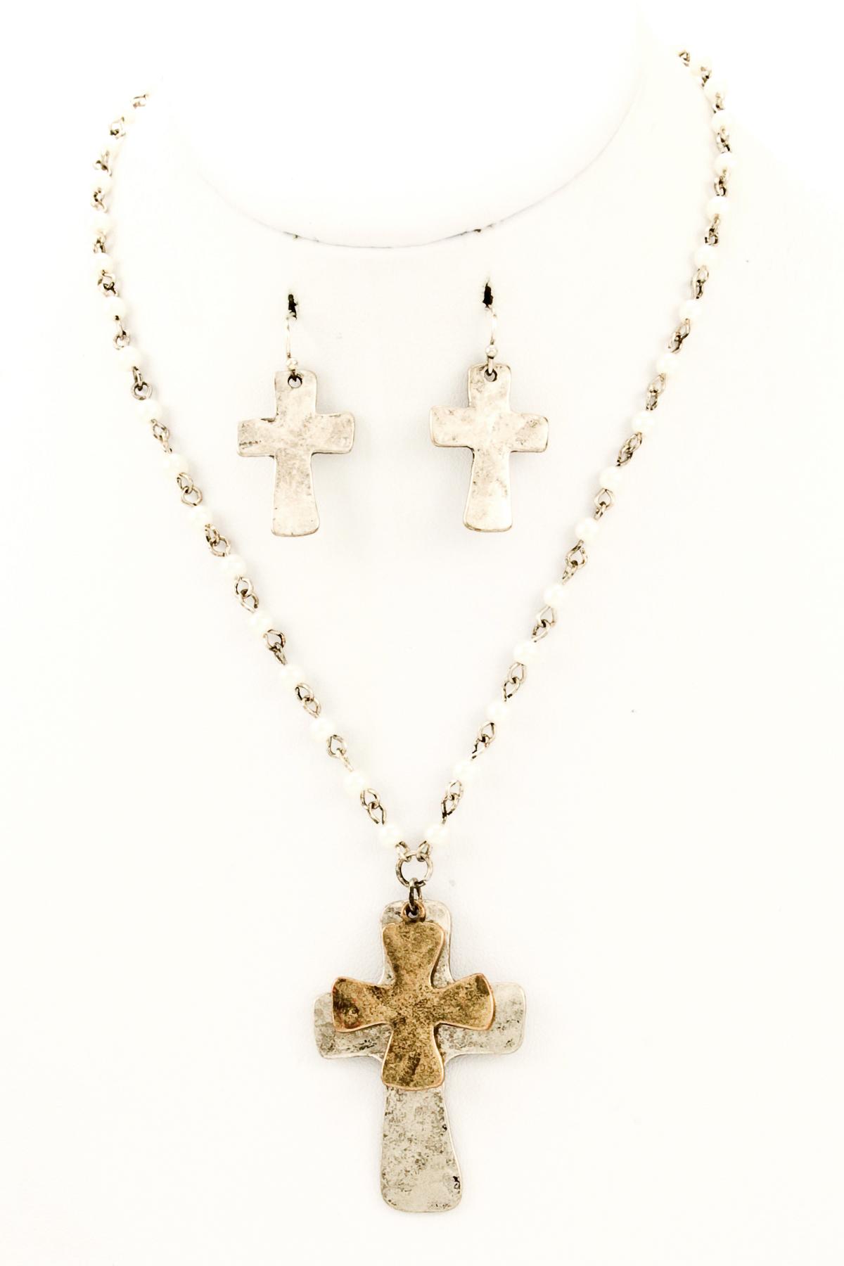 beaded metal cross pendant necklace set necklaces