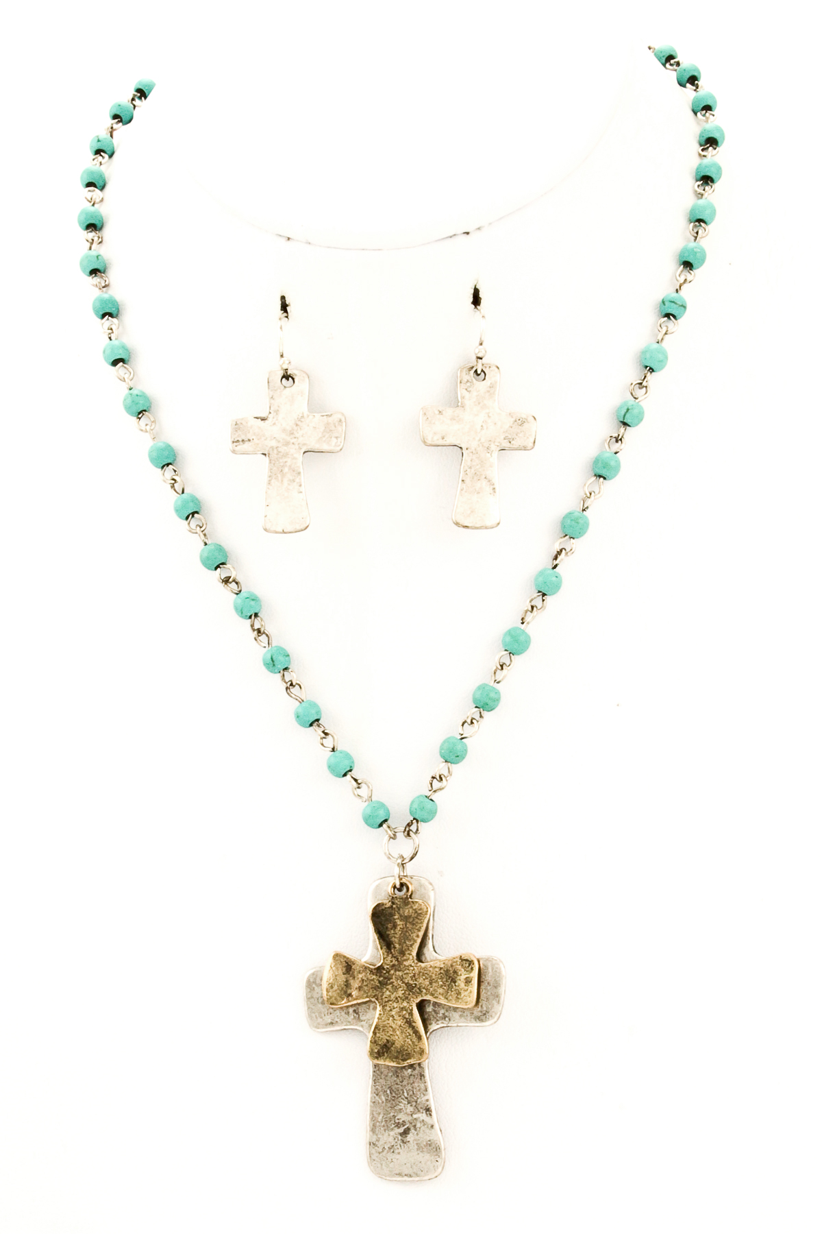 beaded metal cross pendant necklace set necklaces
