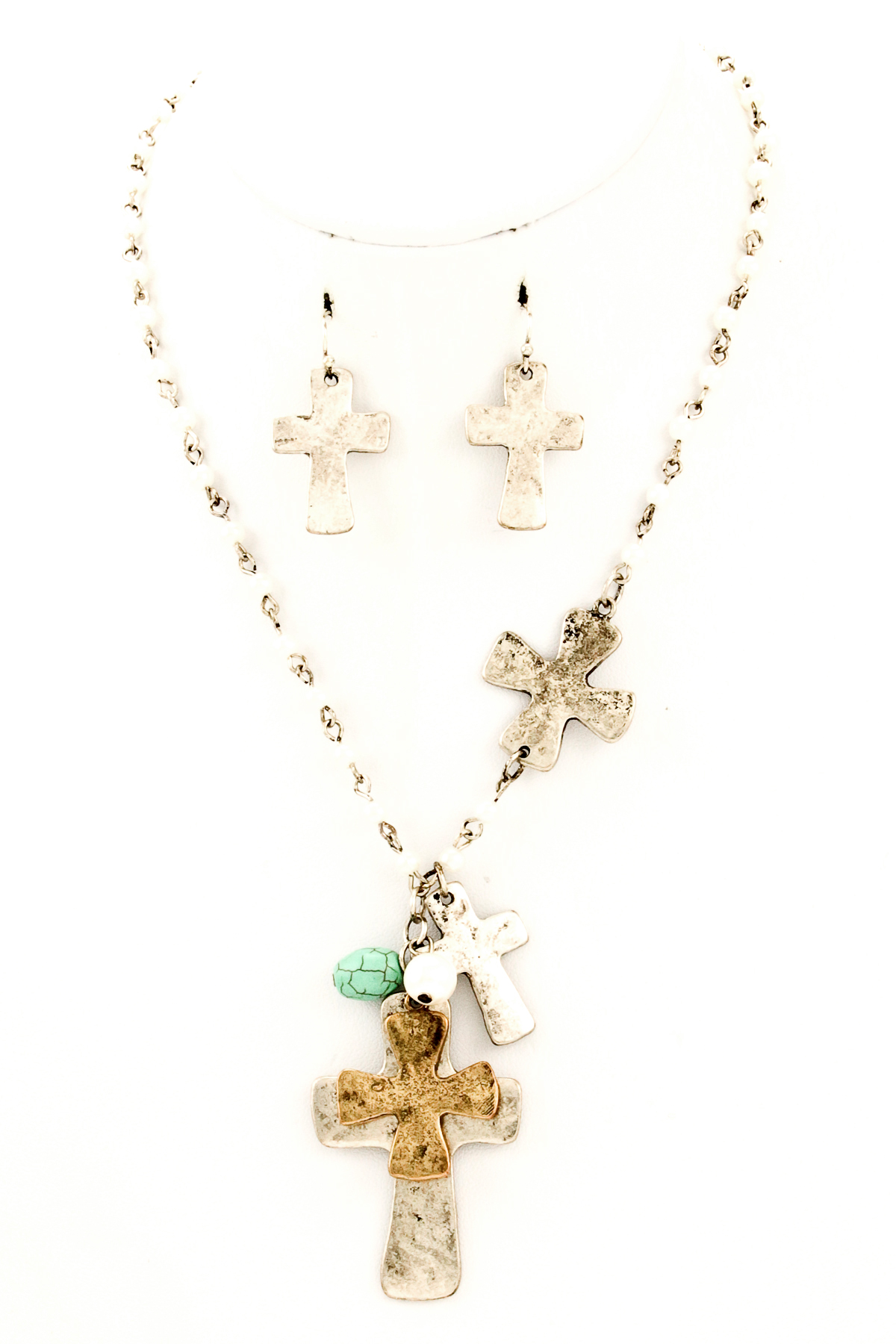 beaded cross and semi precious necklace set necklaces
