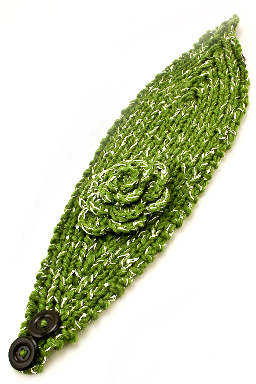 Knitting Pattern Adjustable Headband : Adjustable Knit Flower Headband/Ear Warmer - Hair Accessories