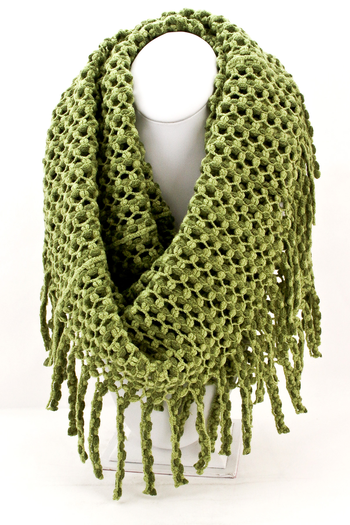 Knitted Fringe Infinity Scarf Scarves