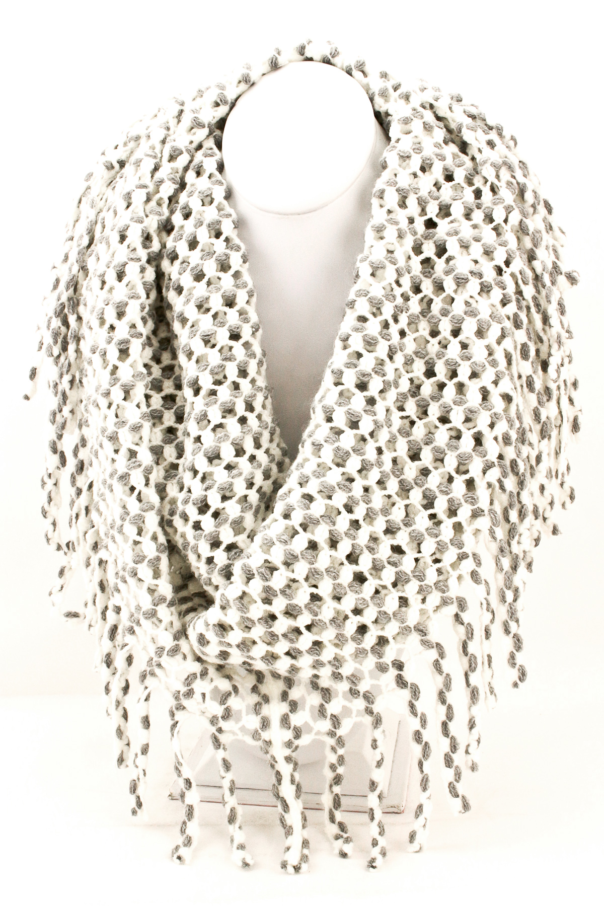 Knitted Fringe Infinity Scarf - Scarves