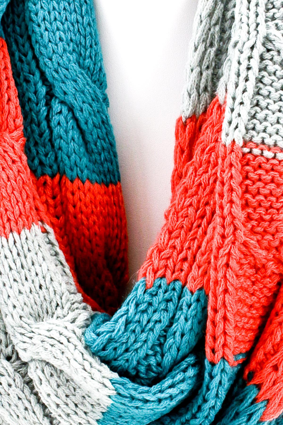 Three Tone Color Block Infinity Scarf - Scarves