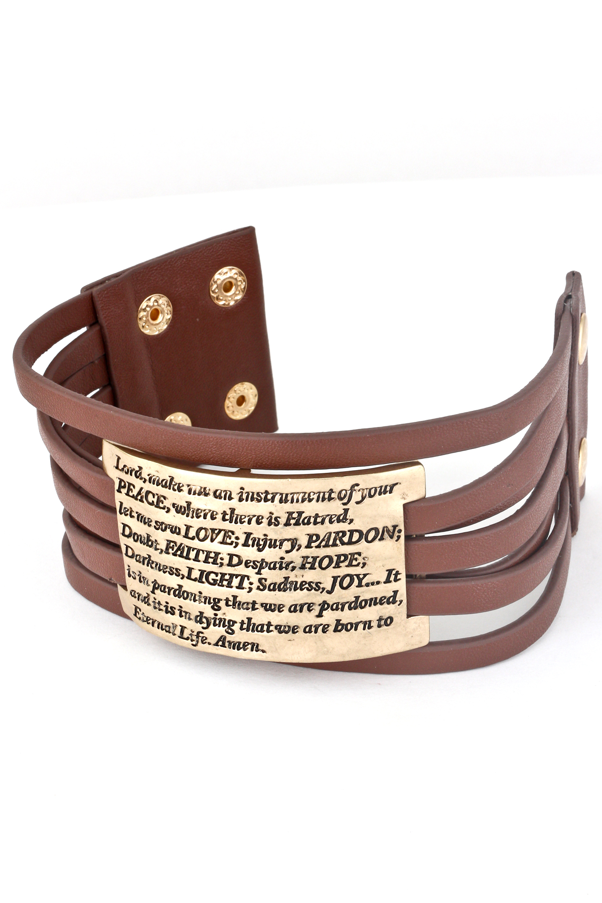 Leather Prayer Of Saint Francis Adjule Bracelet