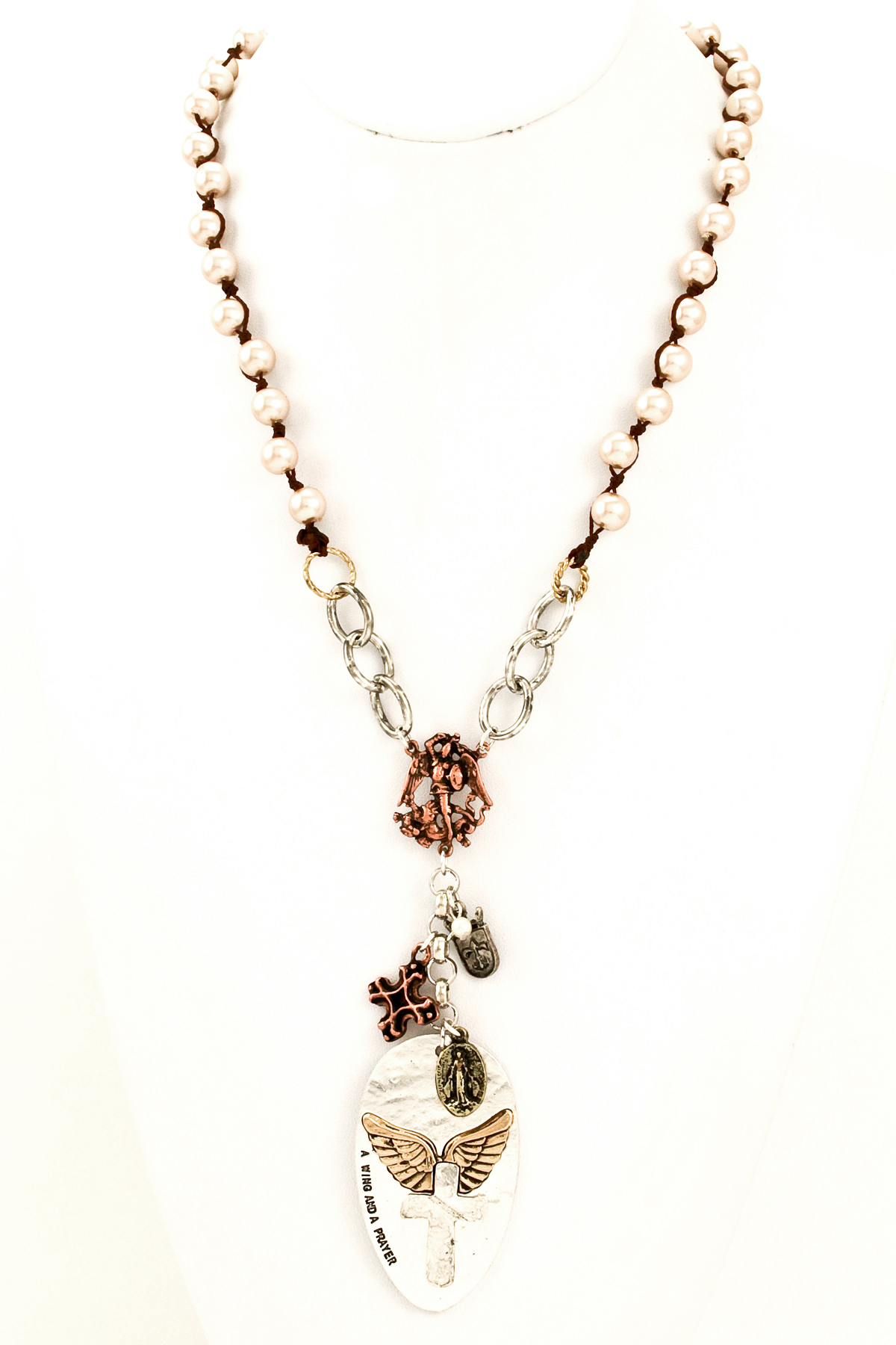 beaded pearl cross pendant necklace necklaces