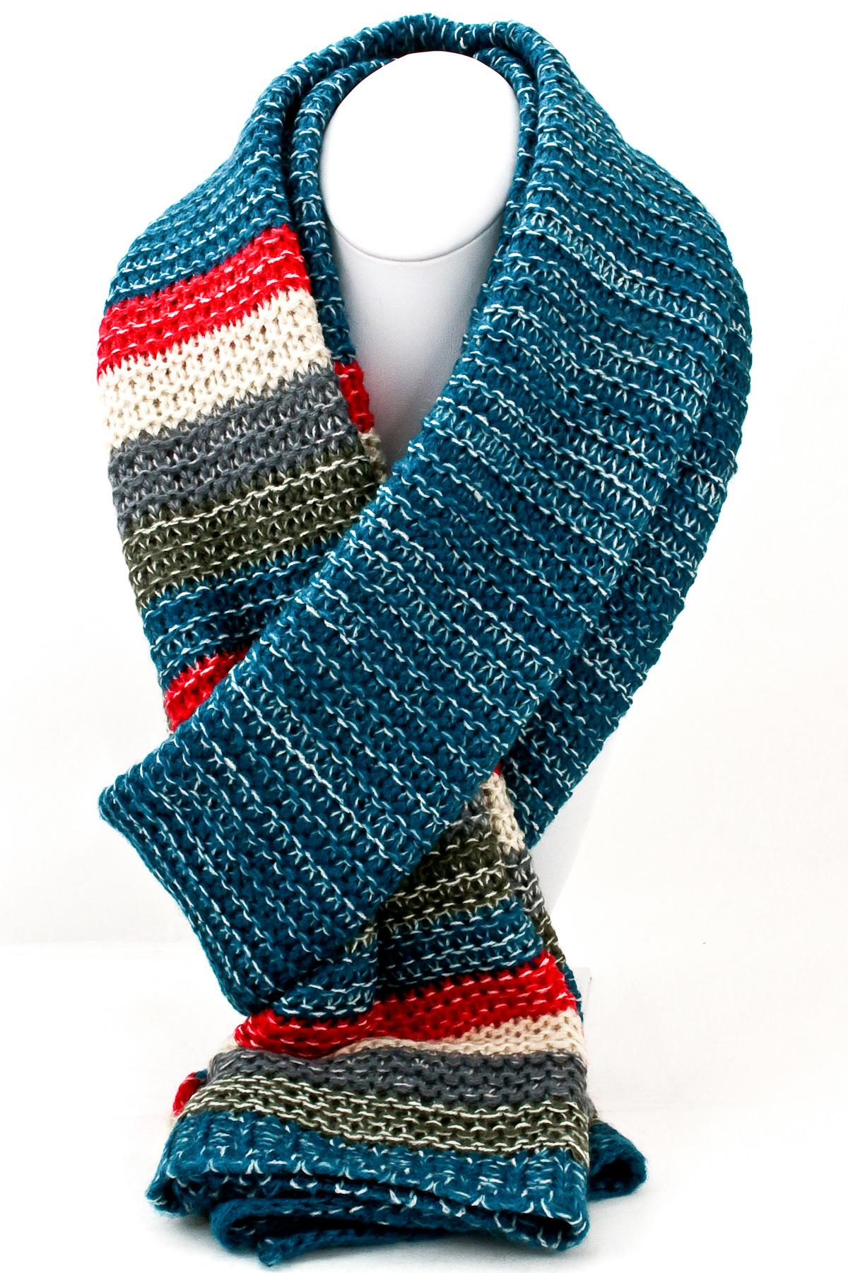 Knit Multi Color Block Scarf - Scarves