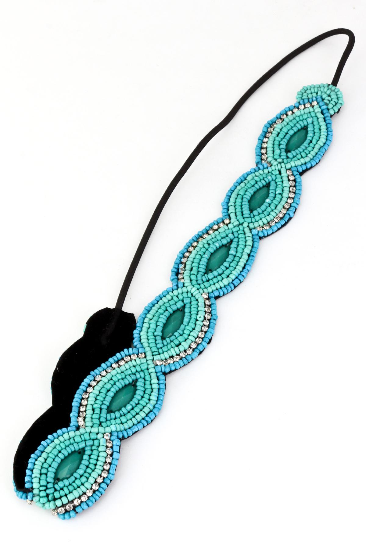 Seed Bead Elastic Headband - Hair Accessories