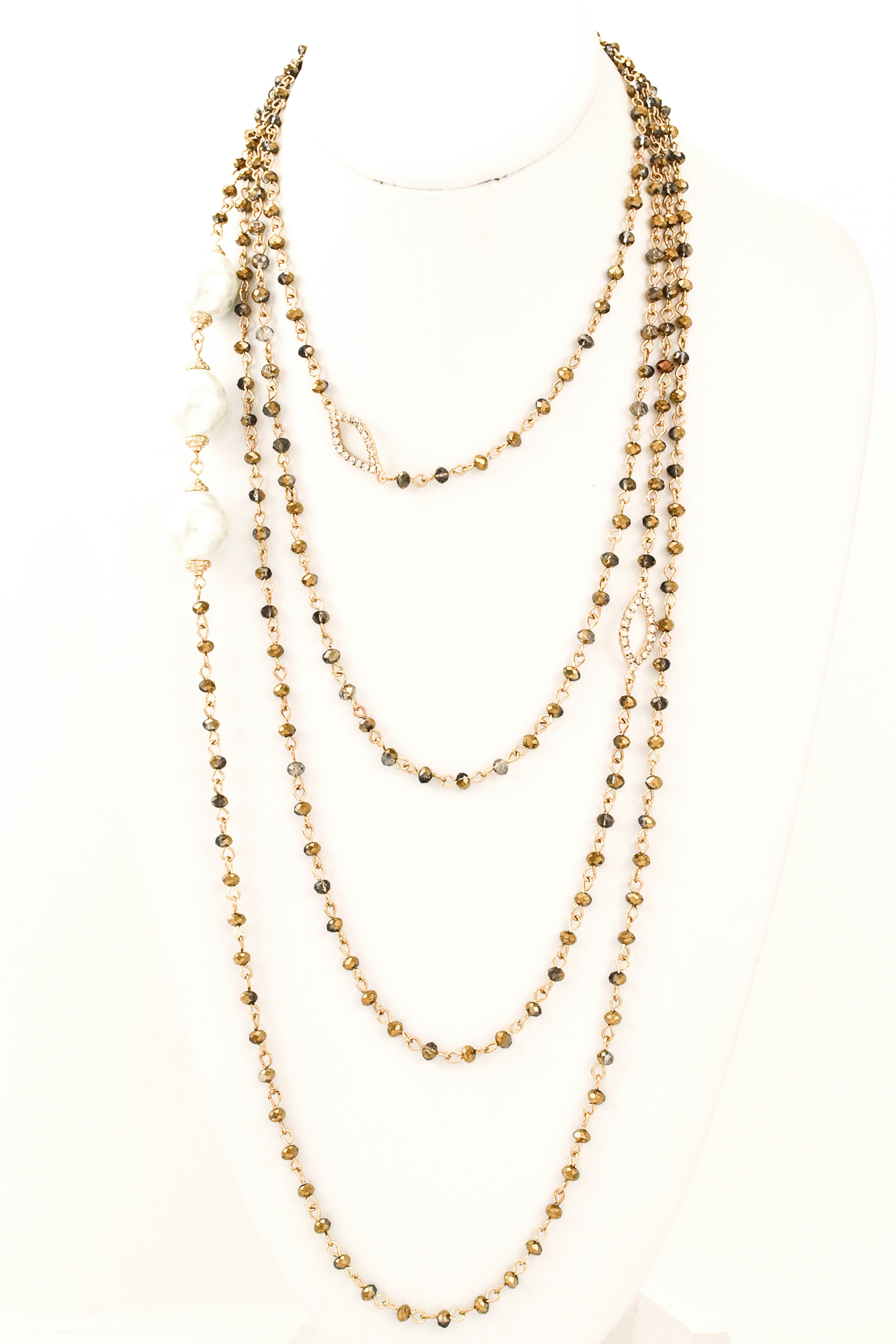 layered seed bead pearl necklace
