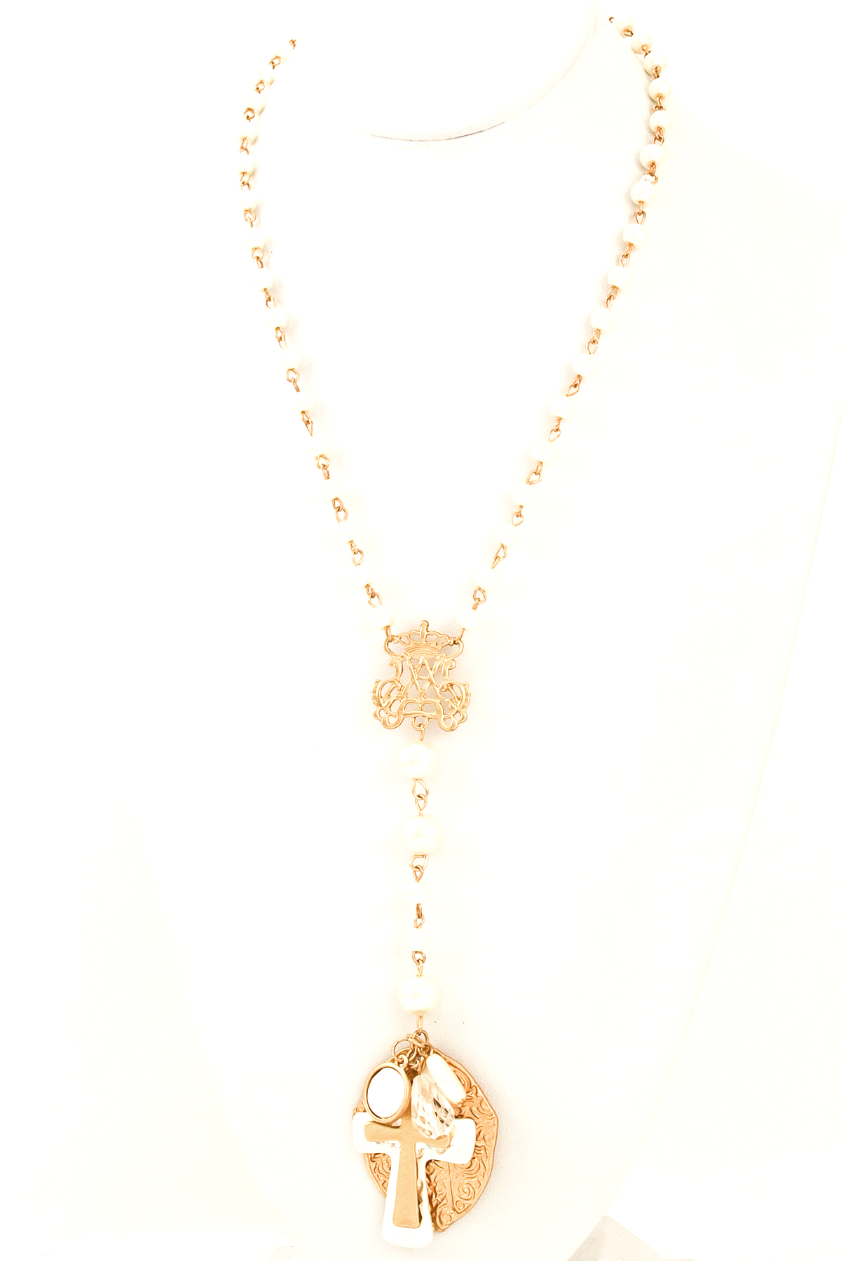beaded pearl two tone cross necklace necklaces