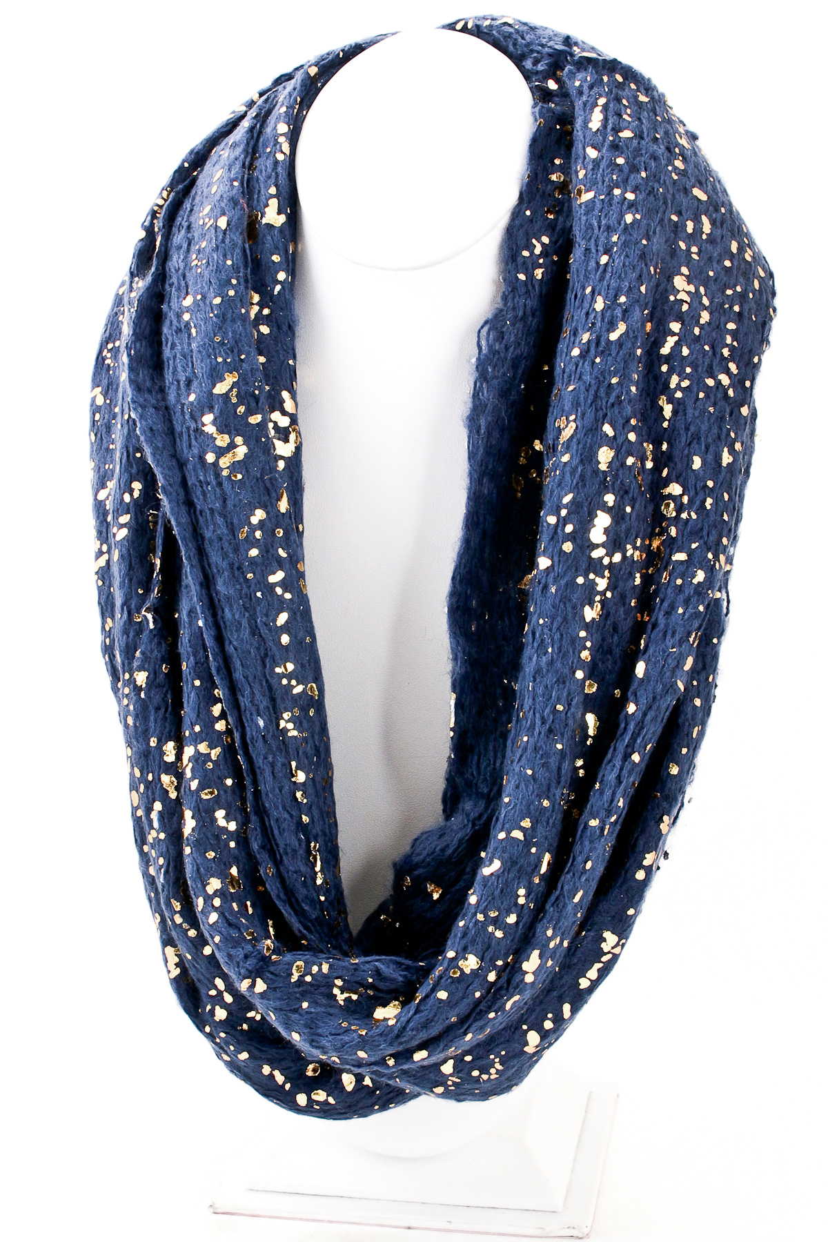 Gold Fragment Detailed Knit Infinity Scarf Scarves