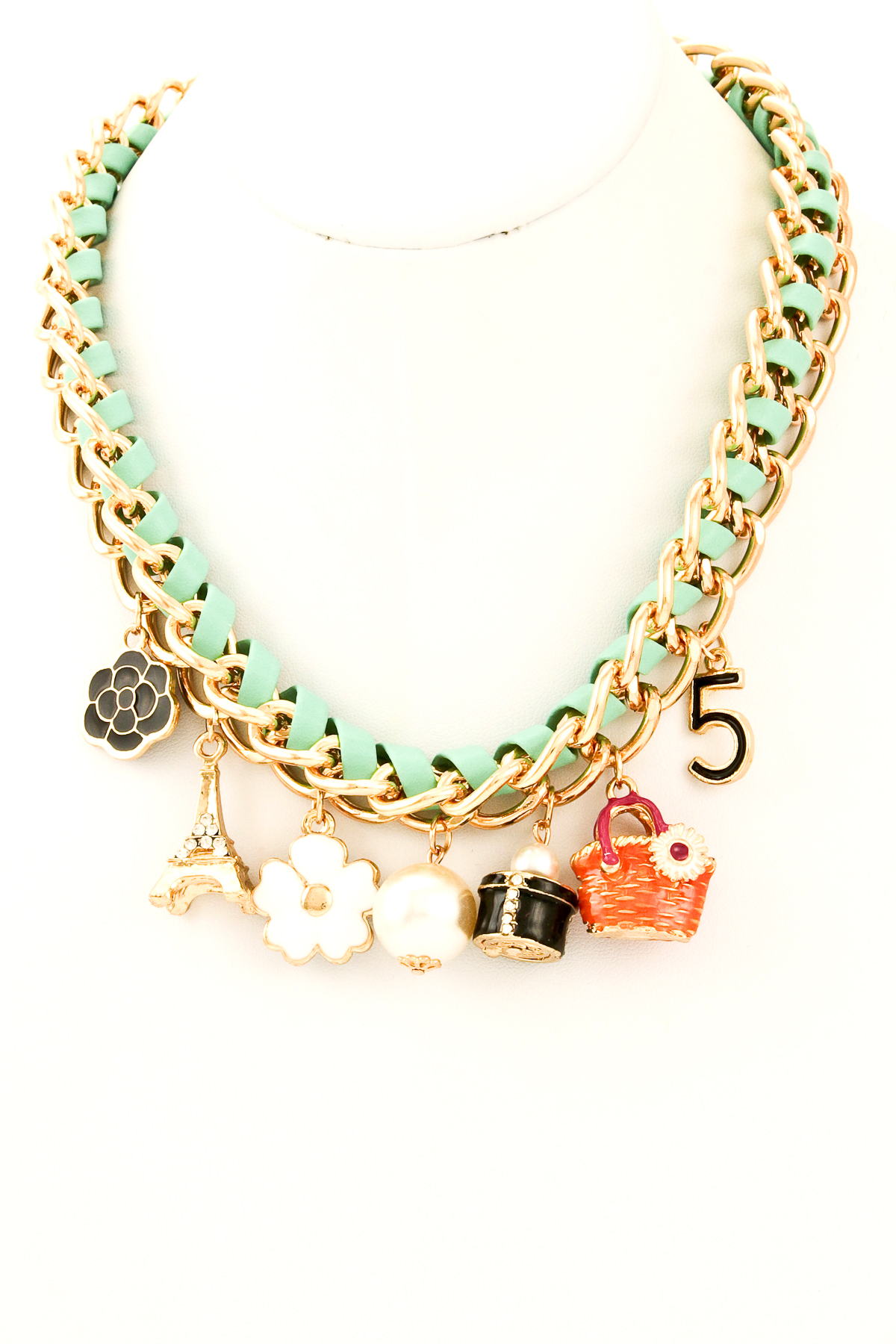 leather and chain assorted charms necklace necklaces
