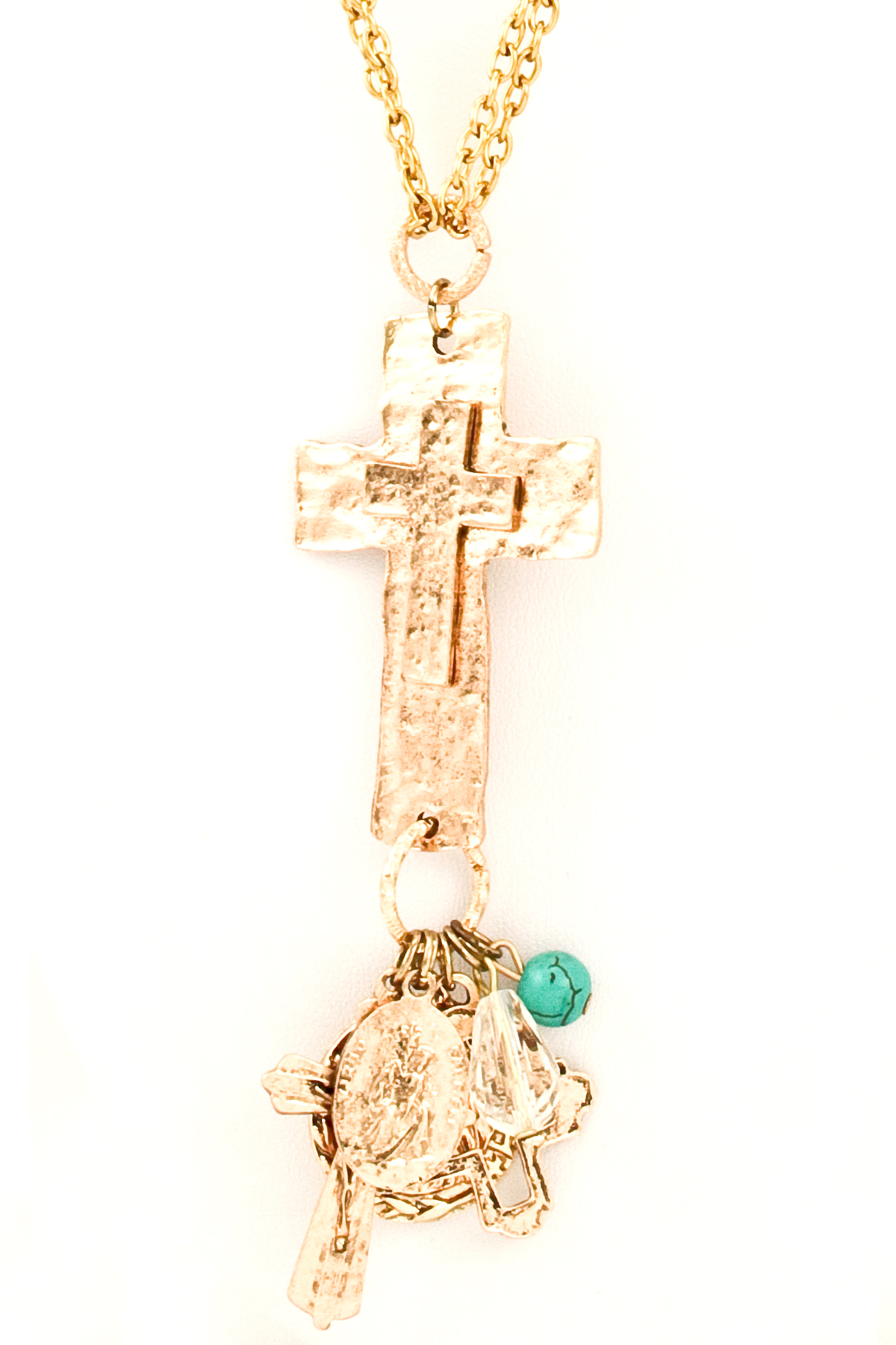 Metal Chain Hammered Cross With Multiple Charms Necklace