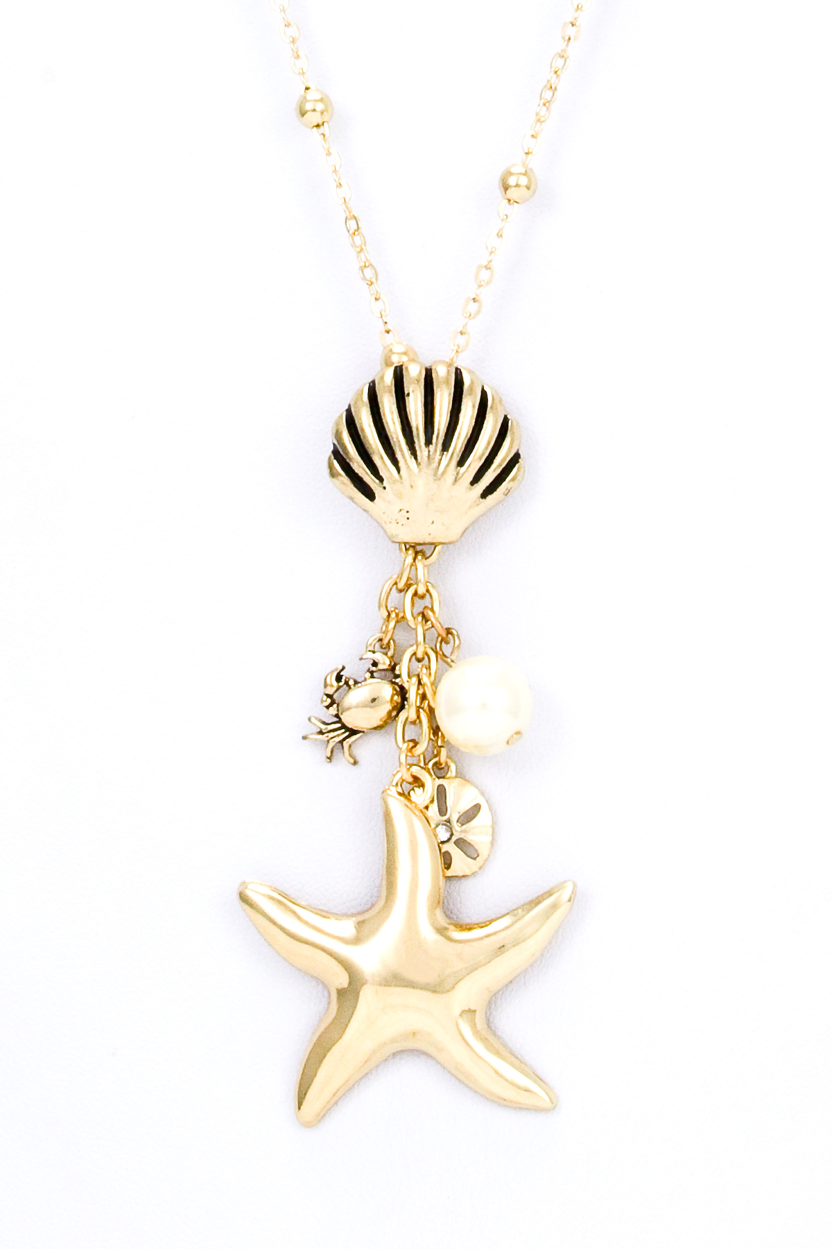 Starfish Shell Crab Pearl Necklace Set Necklaces