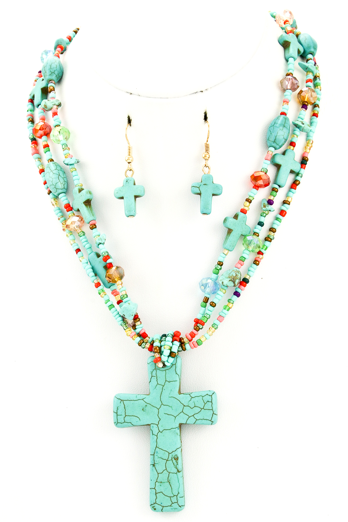 Stone Cross Seed Bead Necklace Set