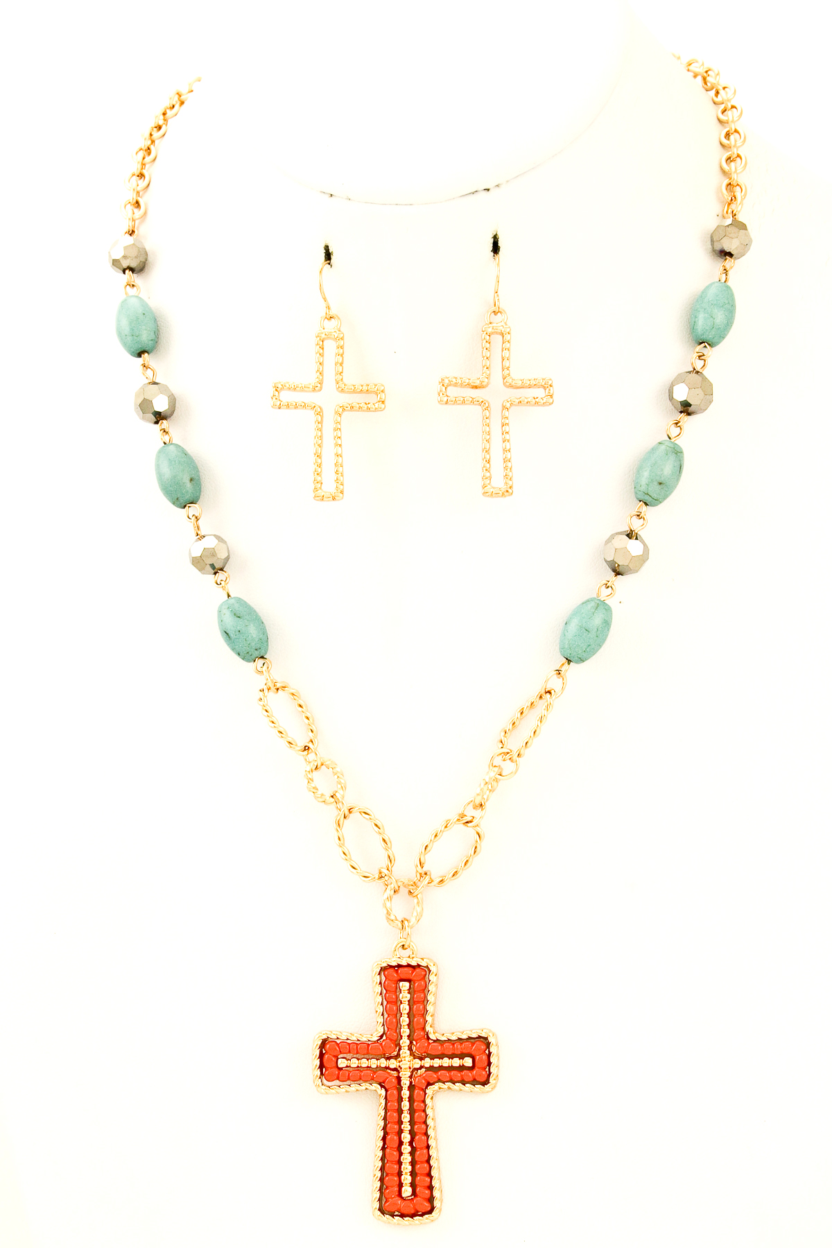 beaded cross pendant necklace set necklaces