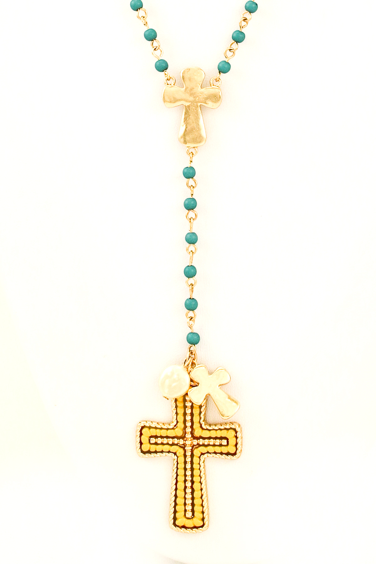 beaded rosary cross necklace set necklaces
