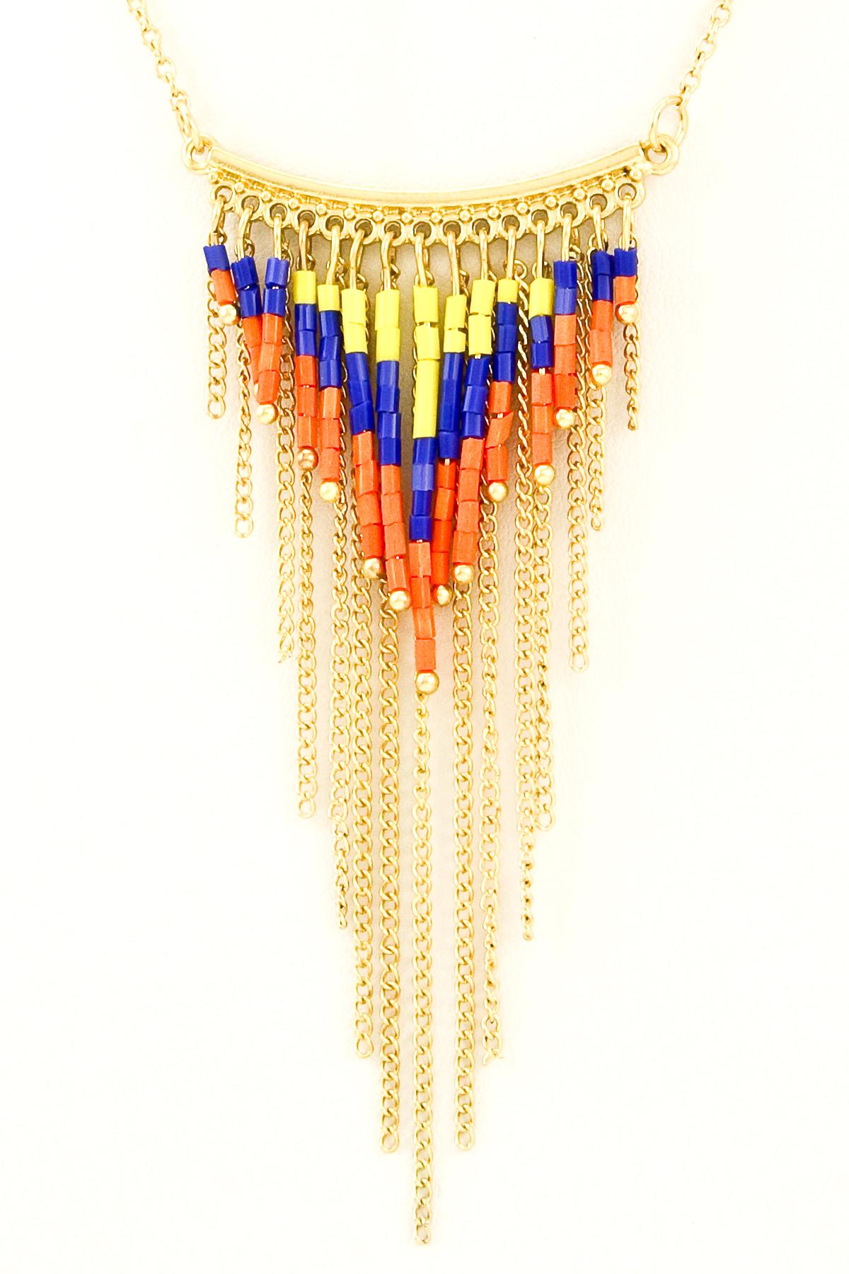 beaded fringe pendant necklace necklaces