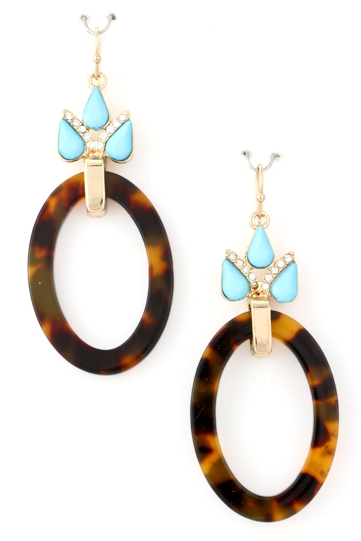 kors look tortoise michael in earrings gold button gallery product tortoiselook print jewelry lyst brown