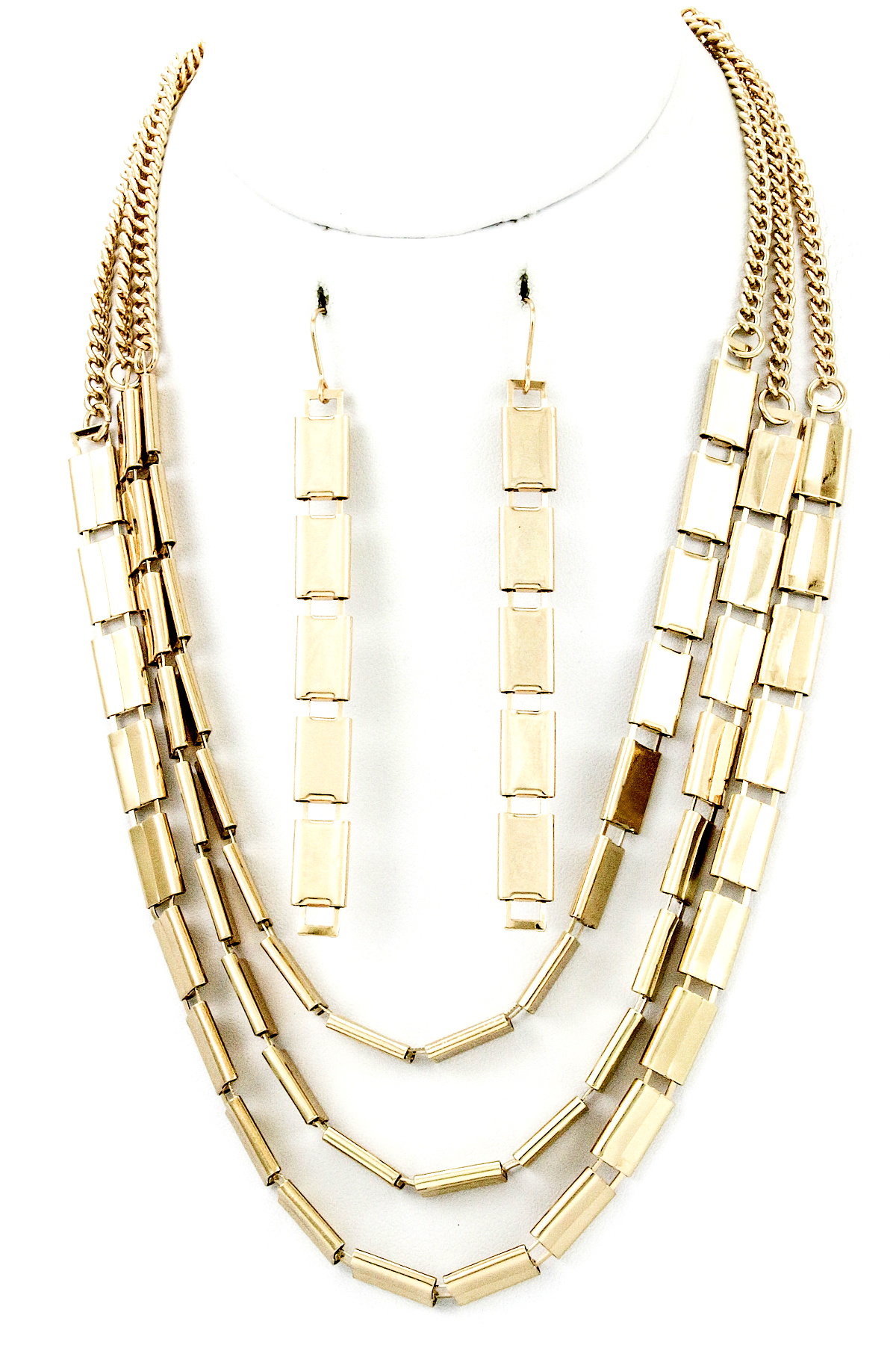 three layer link necklace set necklaces
