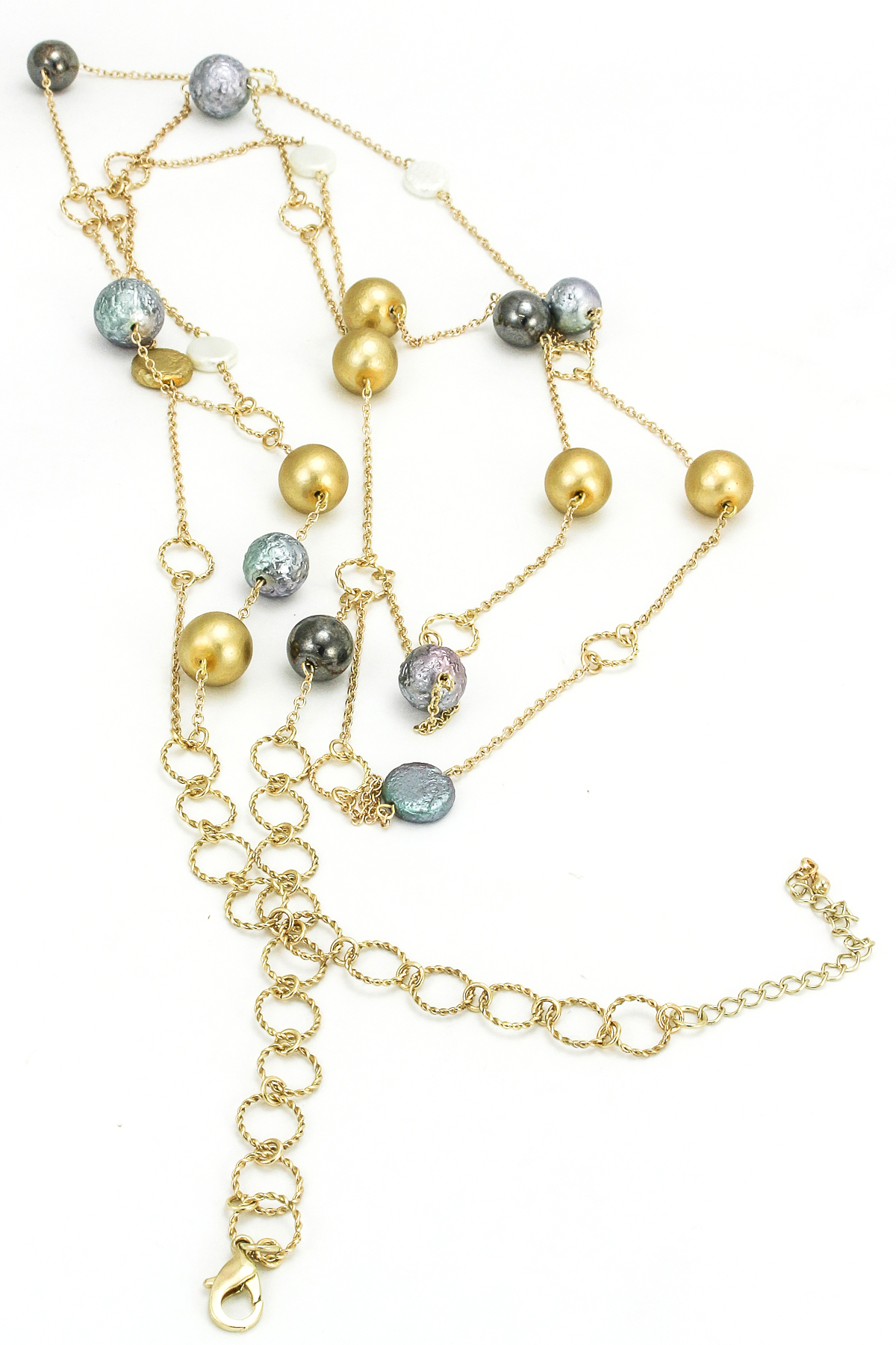 beaded three layer chain necklace necklaces