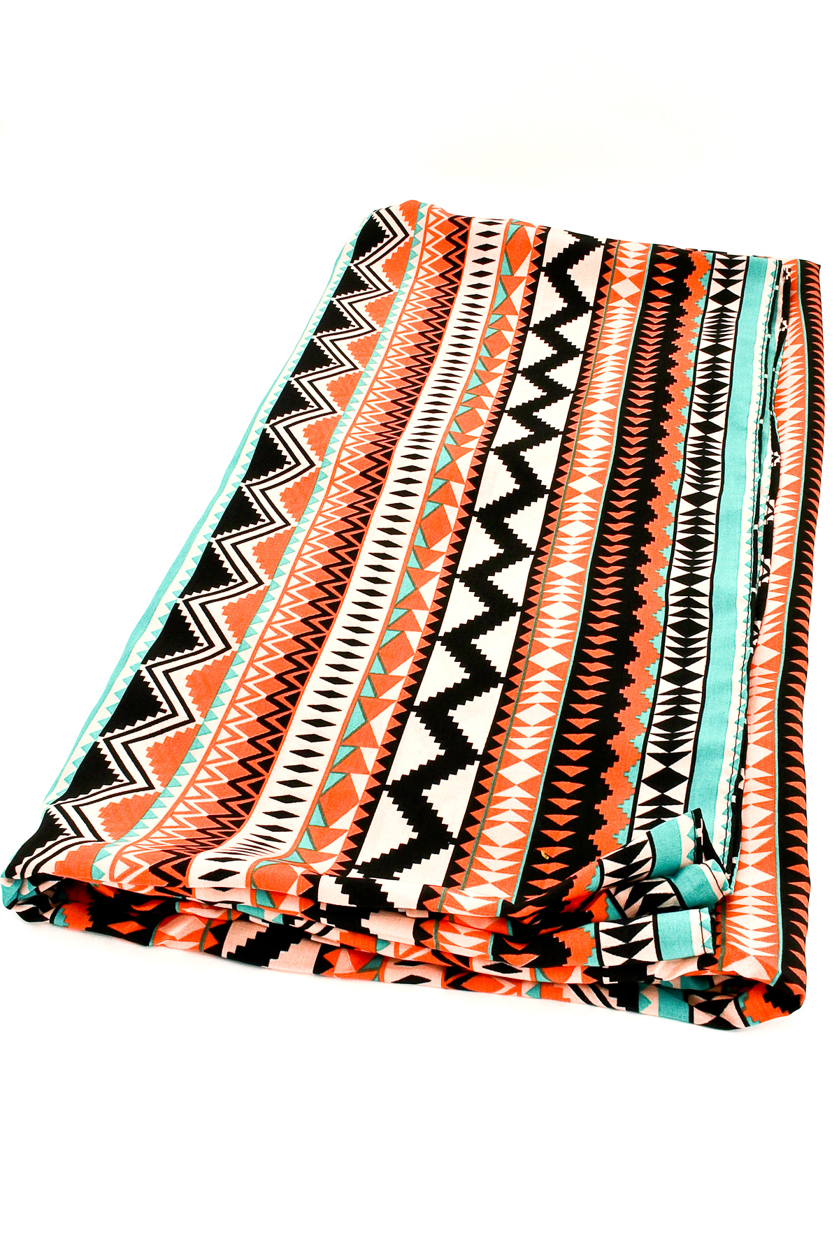Woven Aztec Print Infinity Scarf - Scarves