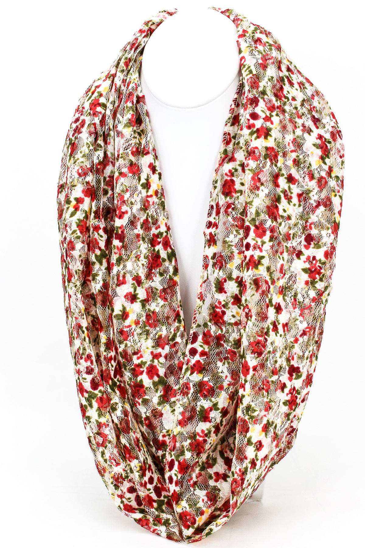 Floral Print Lace Infinity Scarf Red
