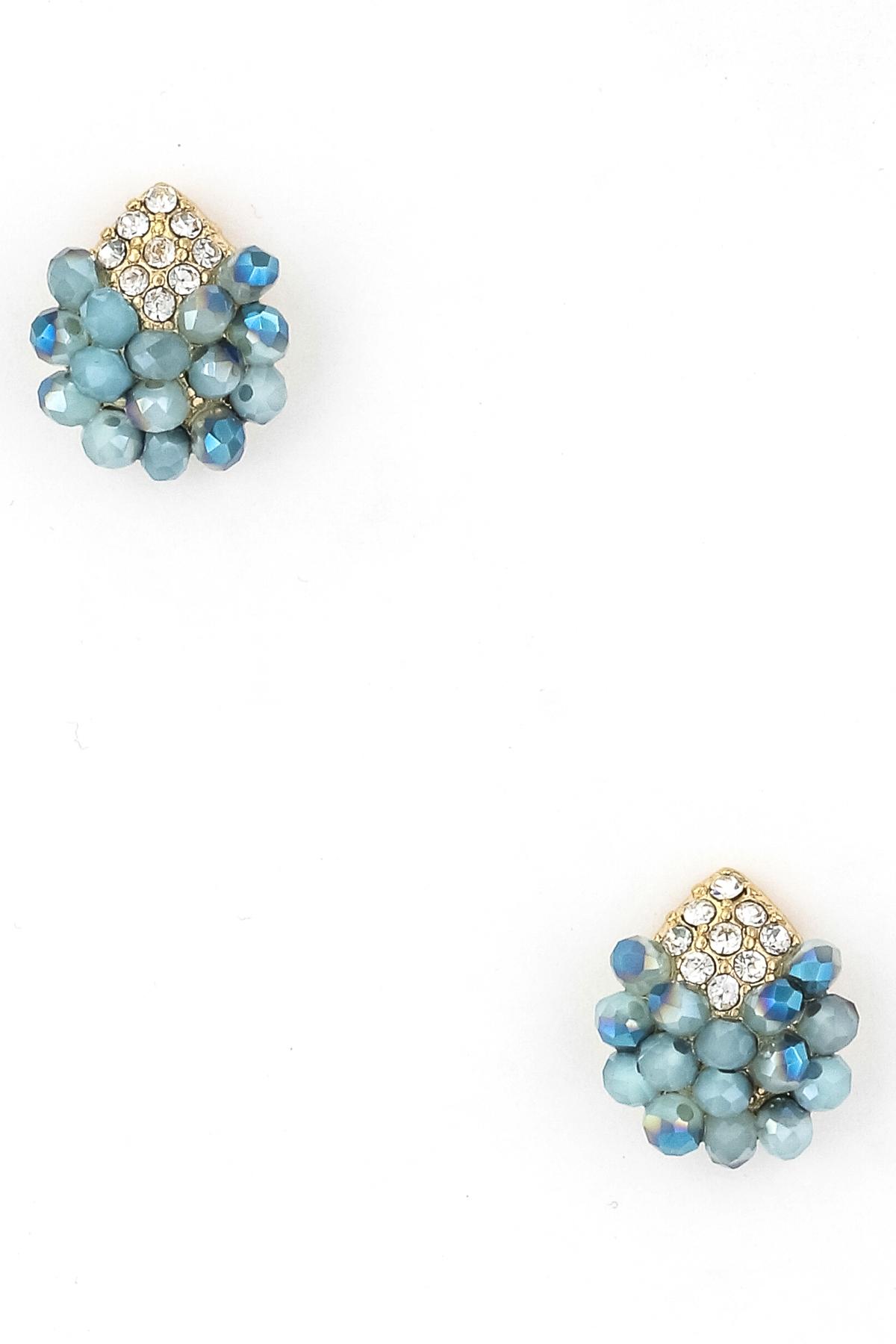 seed bead studded teardrop earring earrings