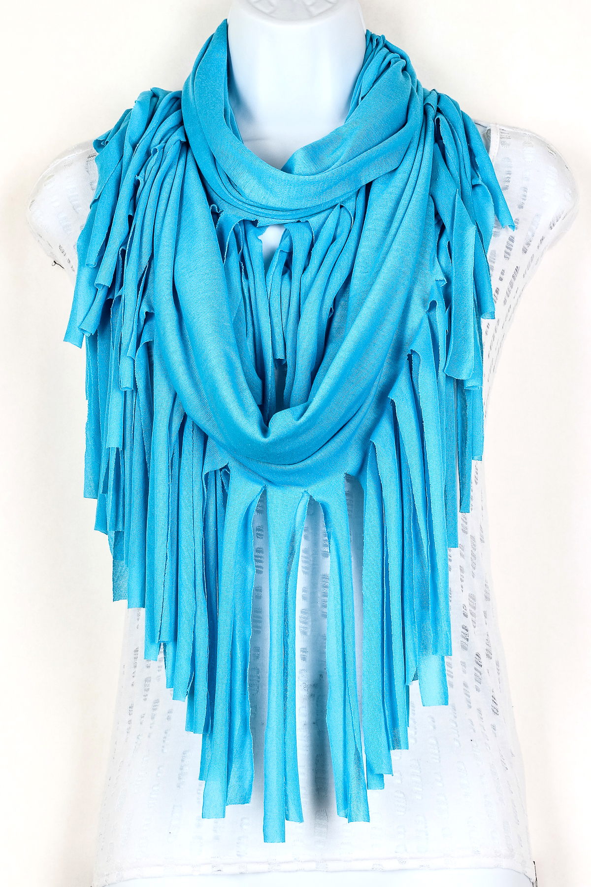 Knitting Patterns For Scarves With Fringe : Knitted Fringe Infinity Scarf - Scarves