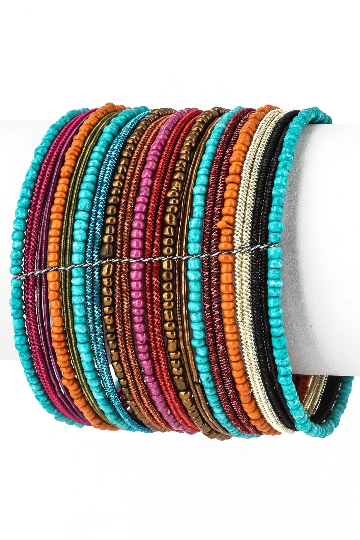 Multi Row Seed Bead Cuff Bracelet - Bracelets