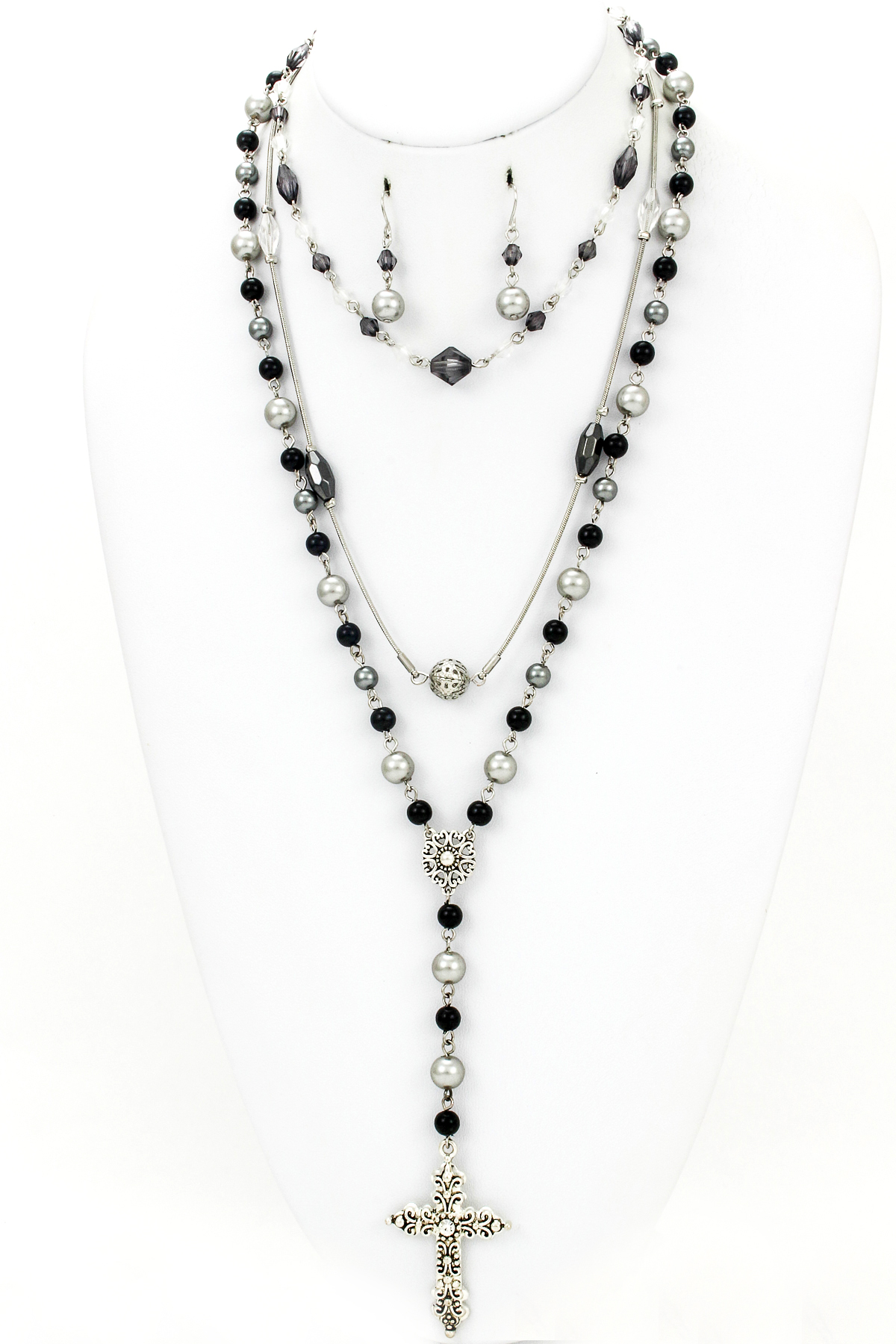 filigree cross rosary style necklace set necklaces