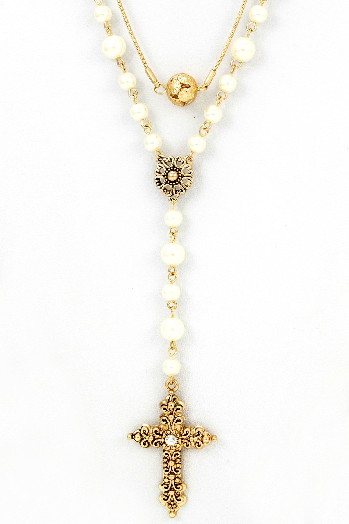 Filigree Cross Rosary Style Necklace Set - Necklaces