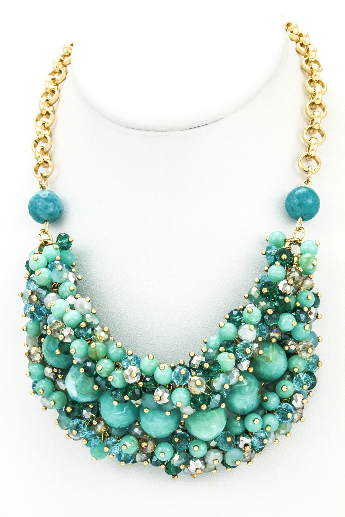 gemstone cluster bib necklace
