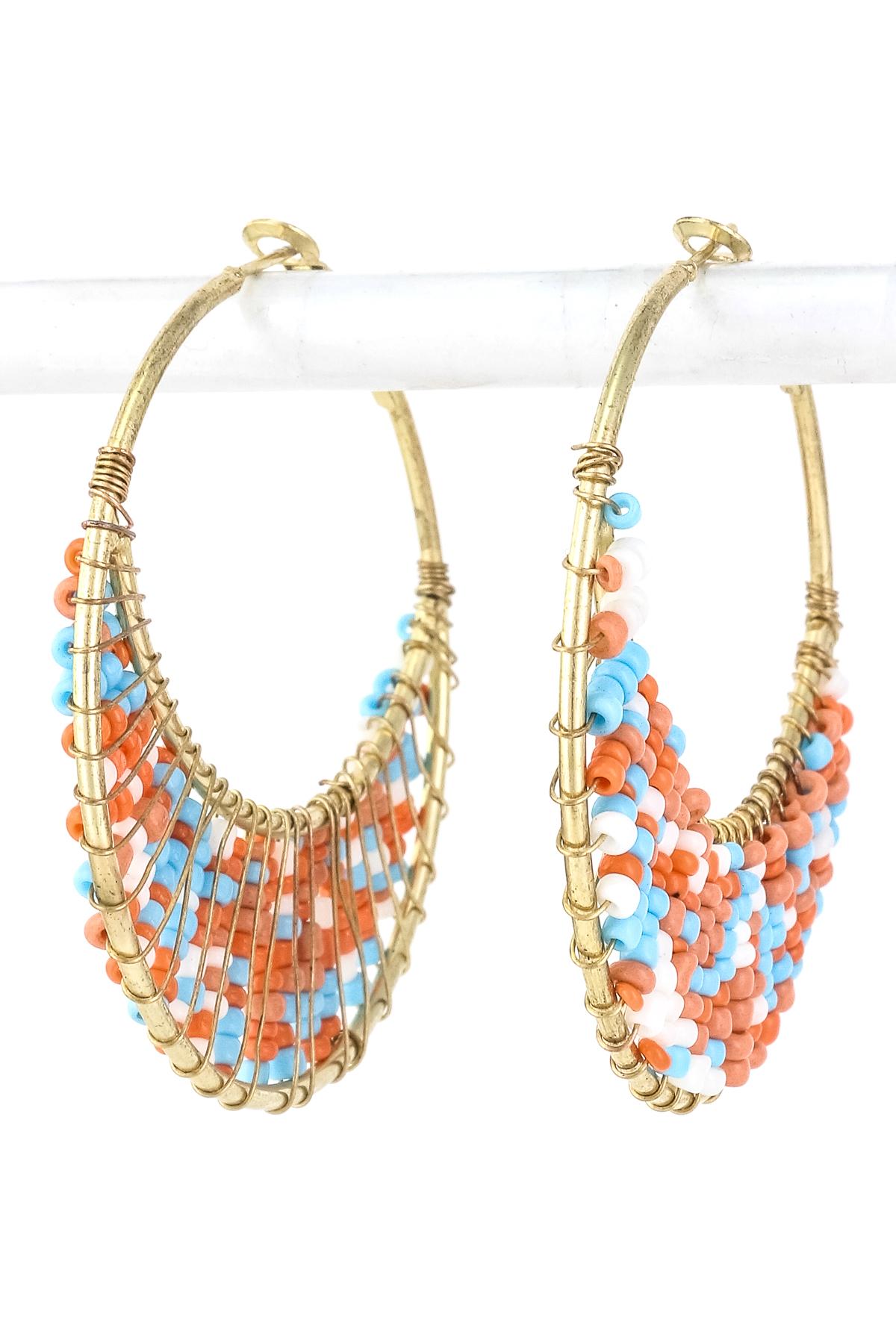 seed bead crescent hoop earring earrings