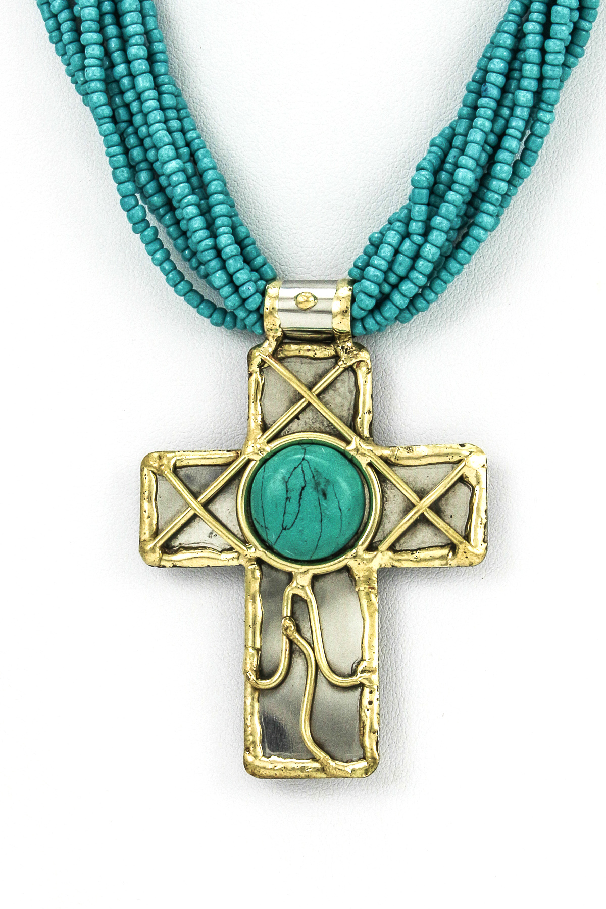 Seed Bead Stone Cross Necklace Set Necklaces
