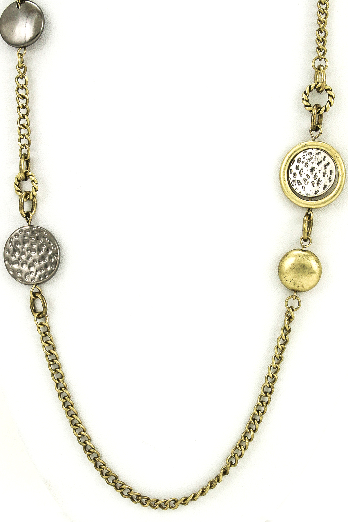 Hammered Metal Charms Long Necklace - Necklaces