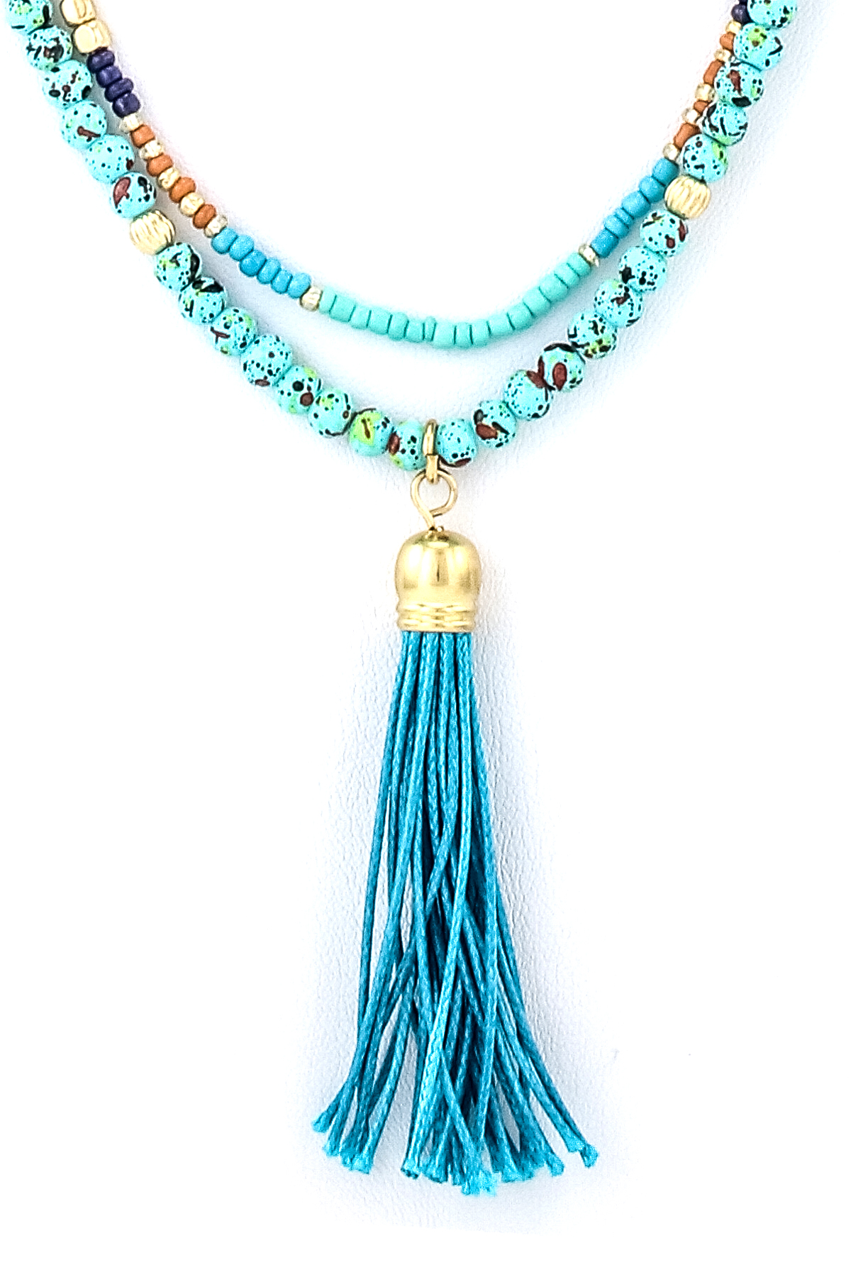 Stone And Bead Tassel Pendant Necklace Set Necklaces