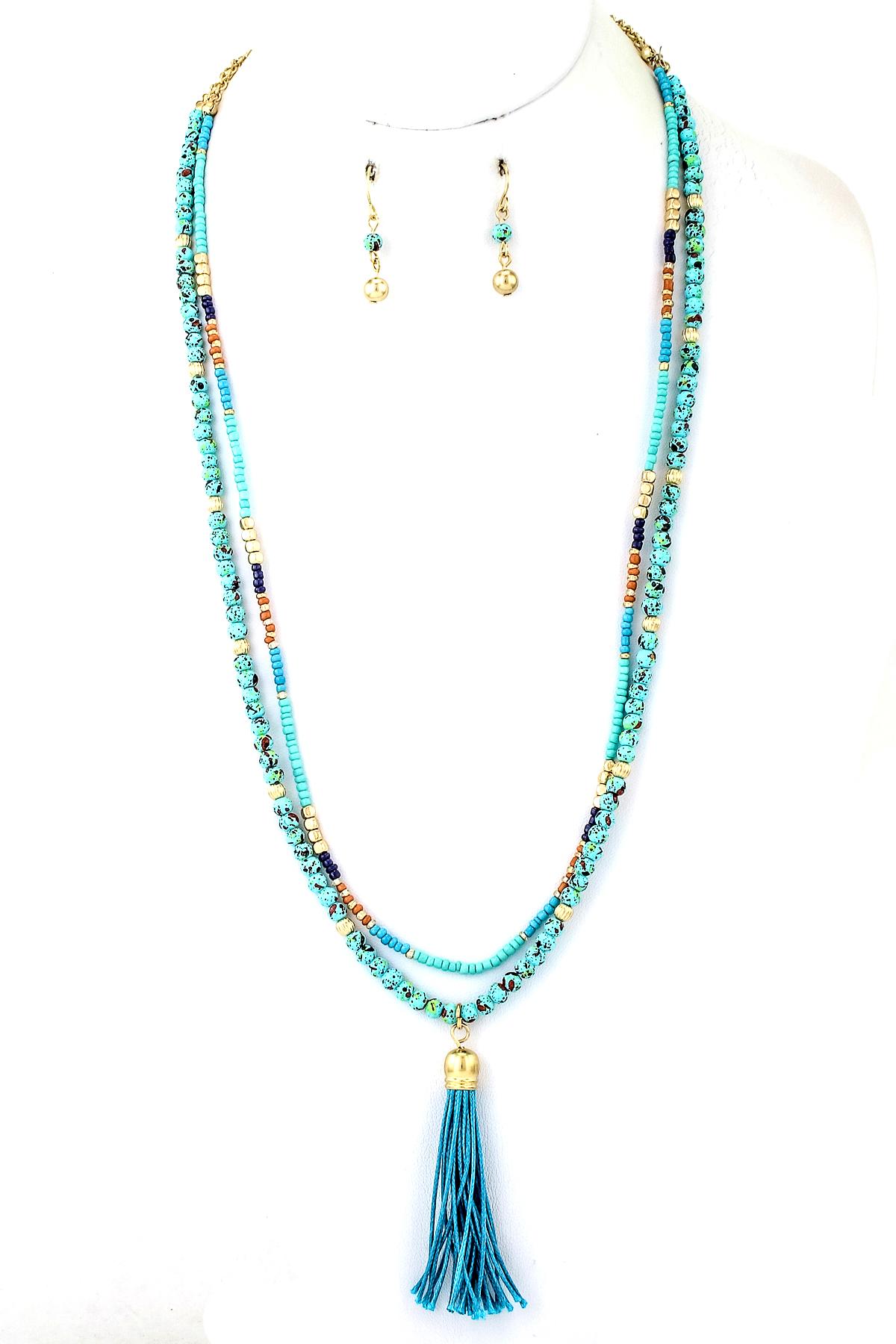 stone and bead tassel pendant necklace set