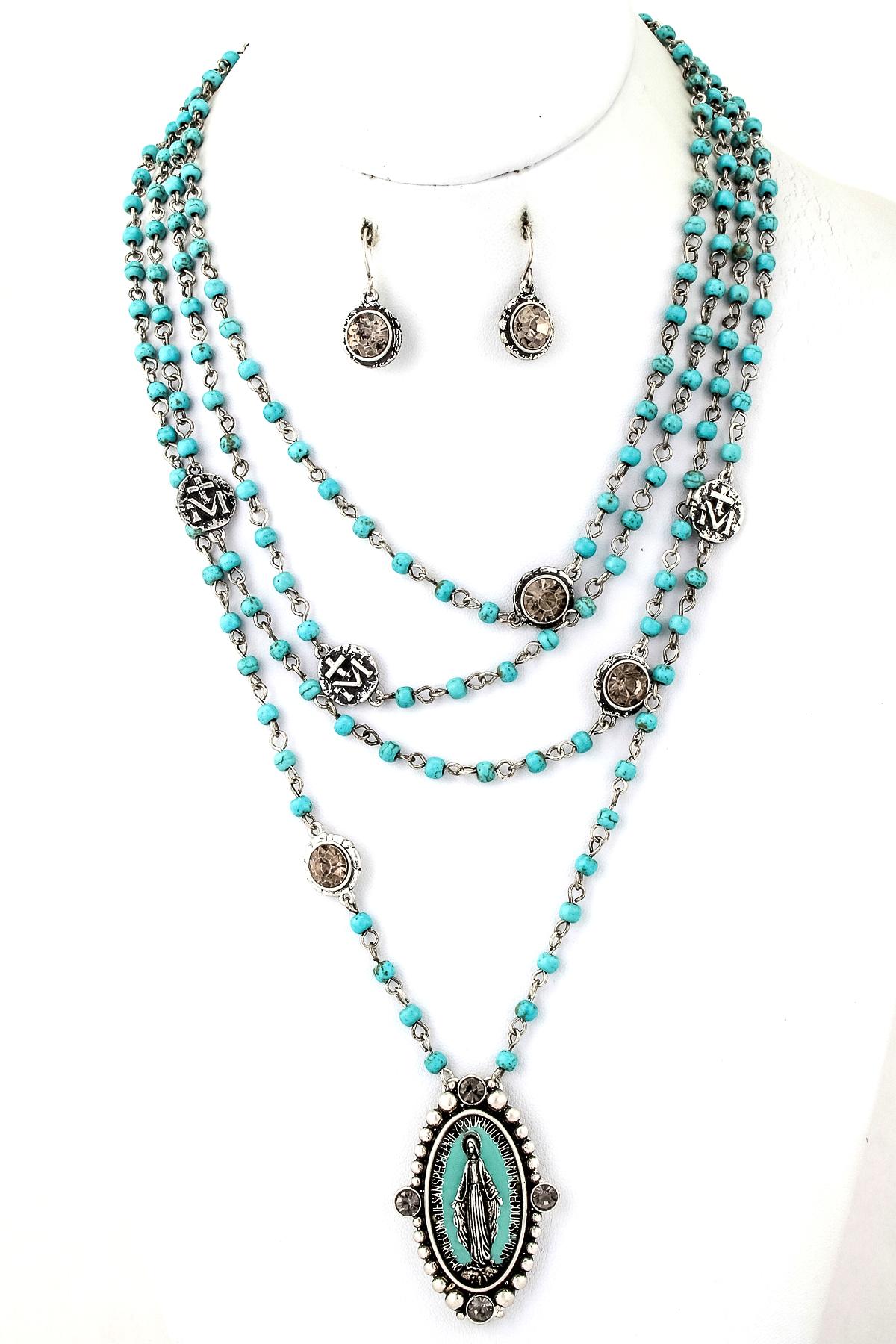 beaded religious pendant necklace