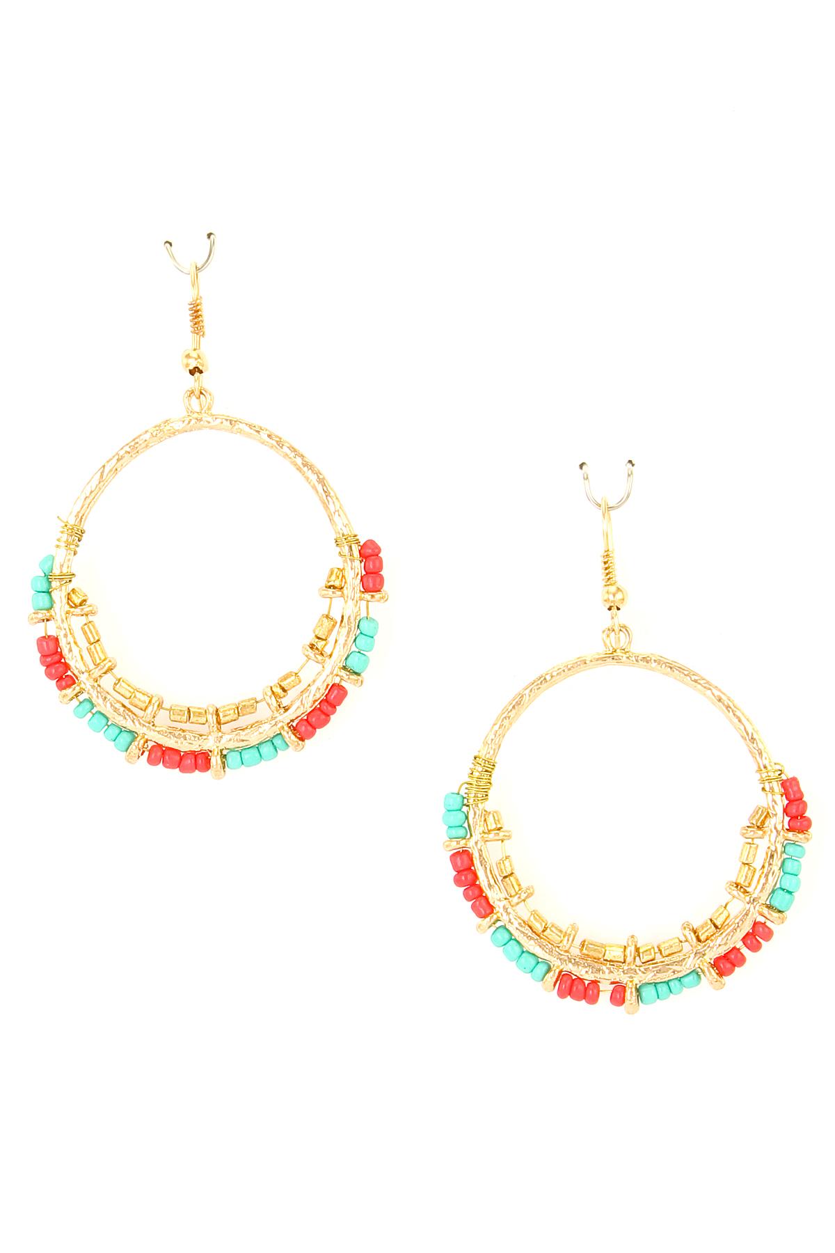 seed bead dangle hoop earring earrings
