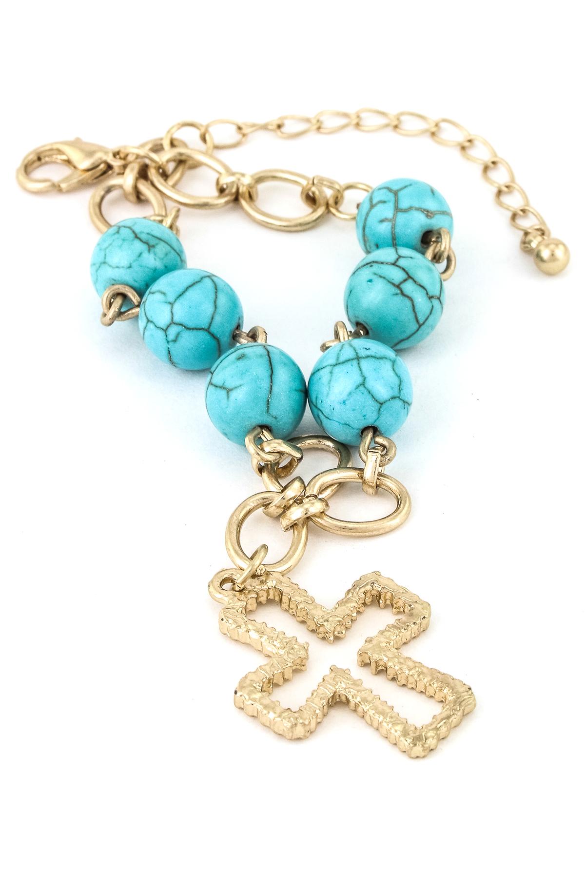 Cross Charm Gemstone Chain Link Bracelet