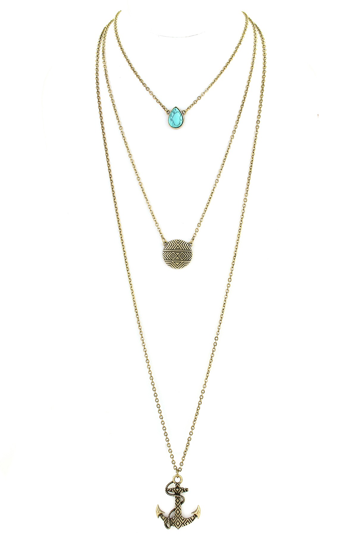three layer anchor necklace necklaces