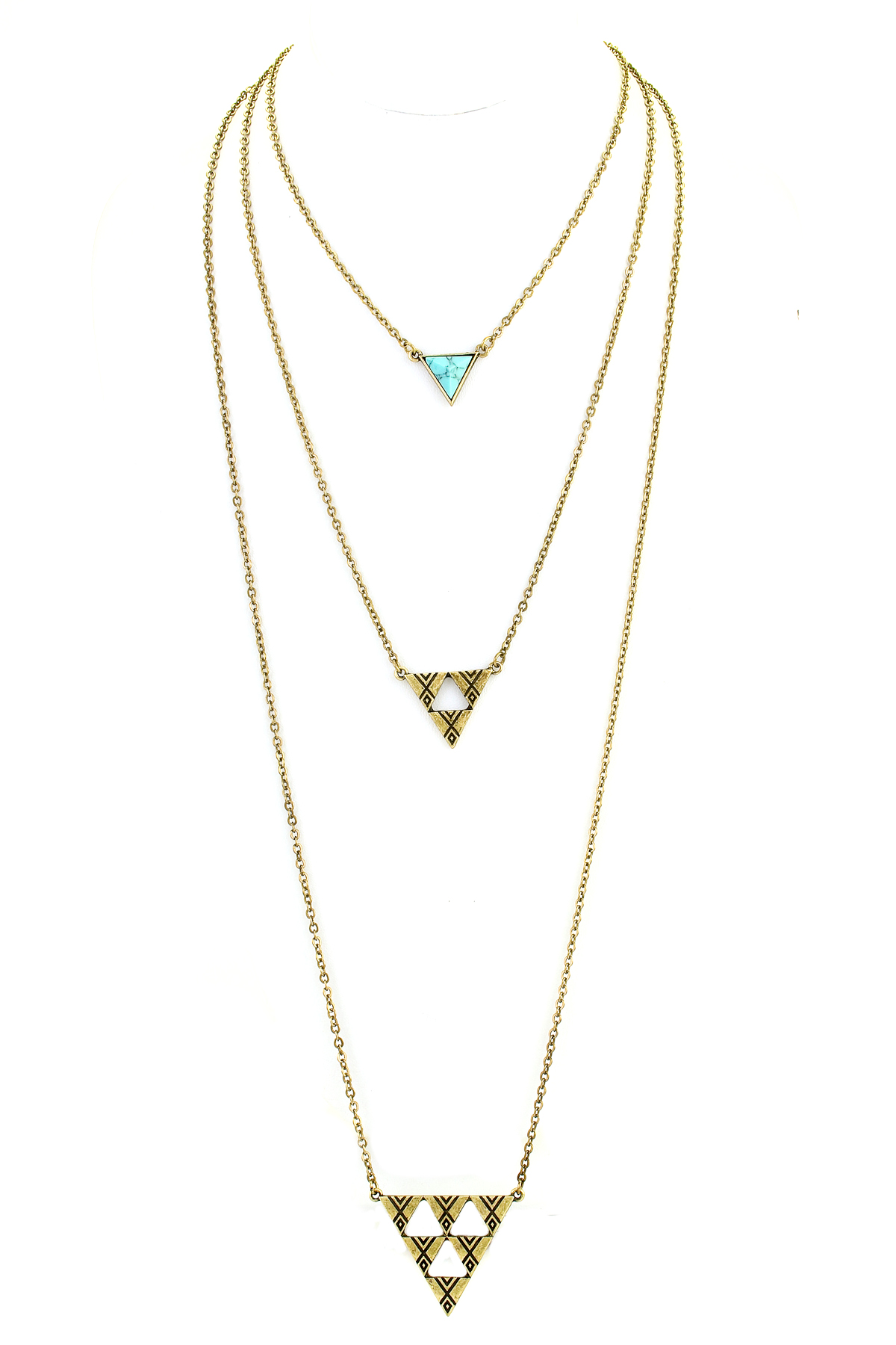 three layer textured triangle necklace necklaces